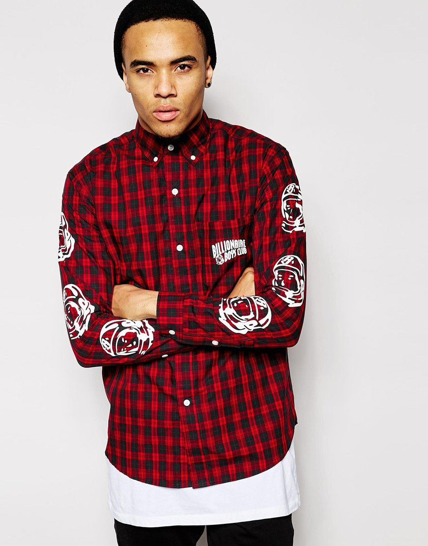 4a19f386 BBCICECREAM Plaid Shirt With Helmet Print in Red for Men - Lyst