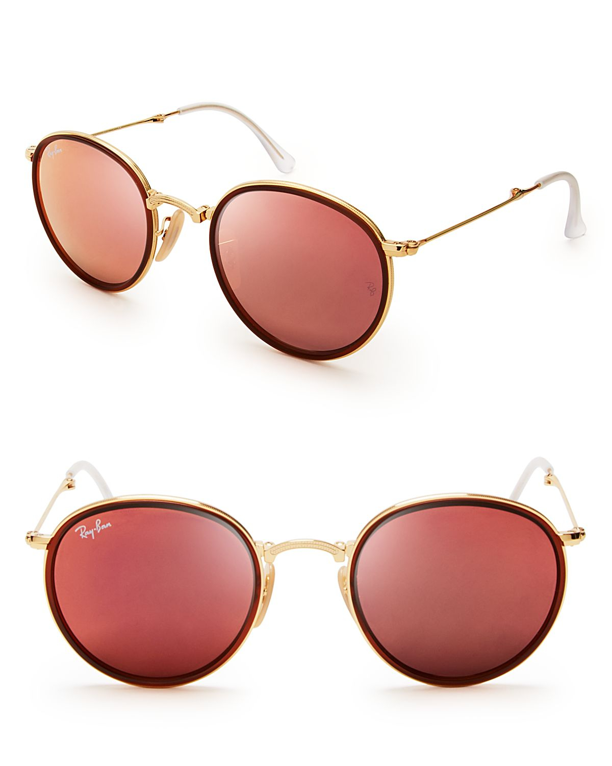 Ray ban 48mm in gold for men gold pink mirror lyst for Mirror sunglasses
