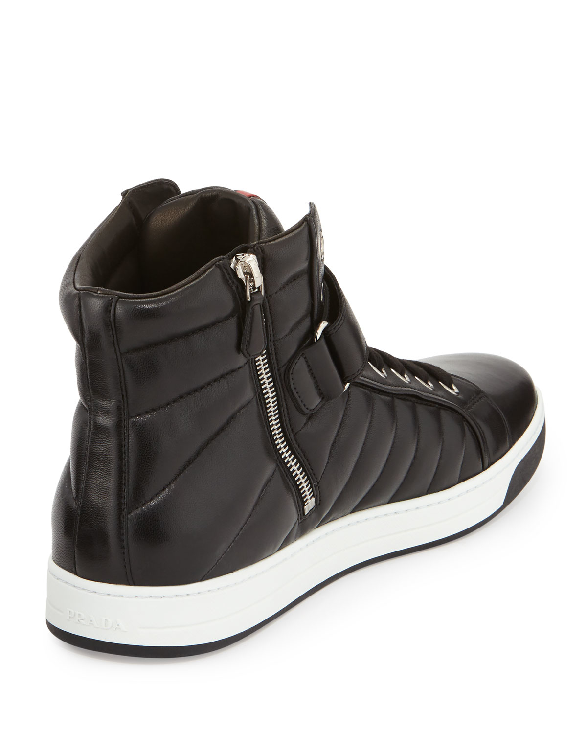 ... amazon lyst prada quilted leather high top sneakers in black for men  ec143 eb043 9ec3f06e56b6a