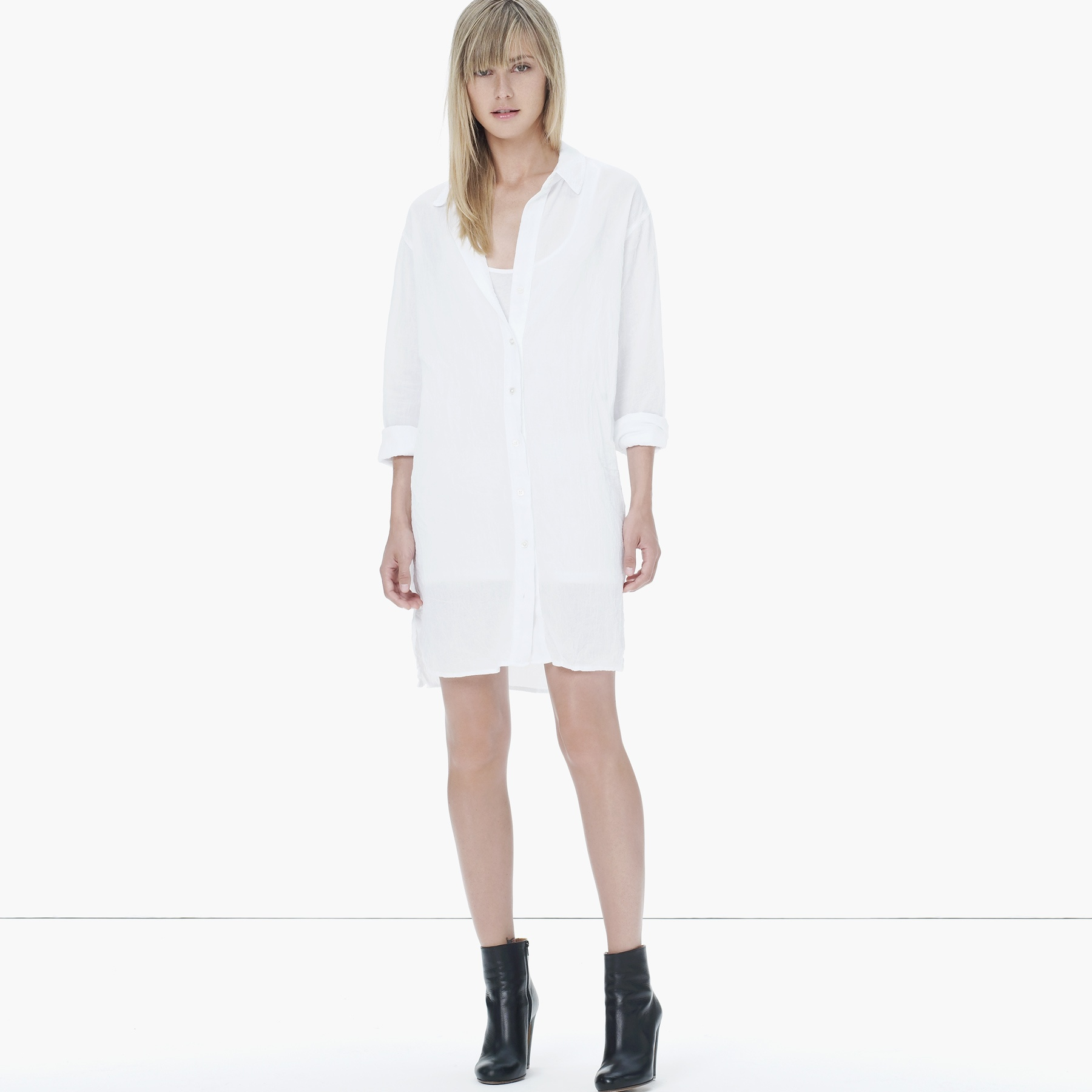 6359f40c91 James Perse Gauze Cotton Shirt Dress in White - Lyst