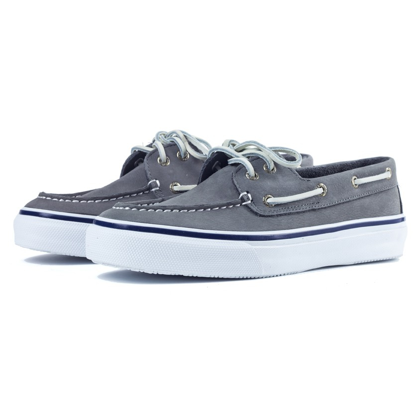 sperry top sider grey nubuck leather bahama boat shoes in