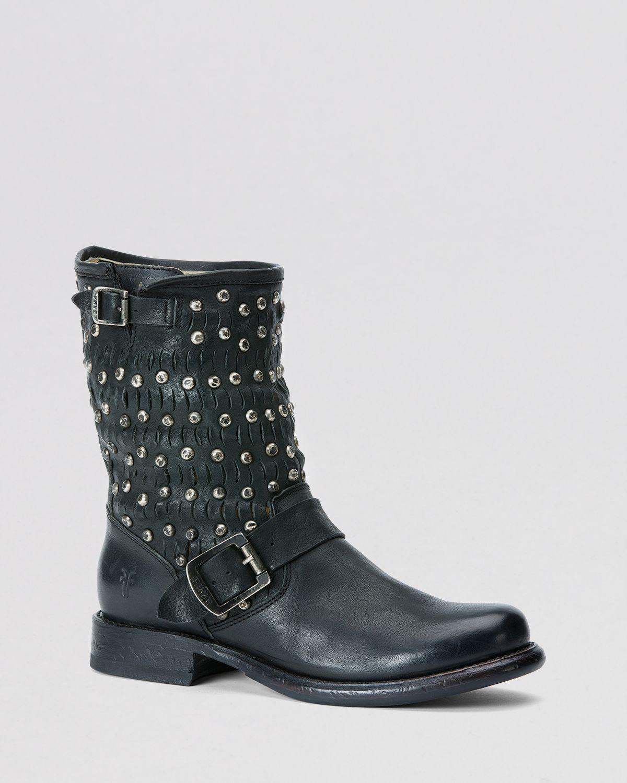 lyst frye moto boots jenna cut stud in black. Black Bedroom Furniture Sets. Home Design Ideas