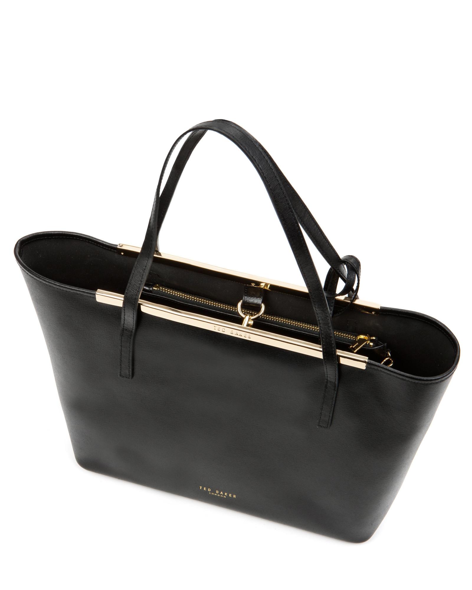 91234493d Ted Baker Crosshatch Leather Shopper Bag in Black - Lyst