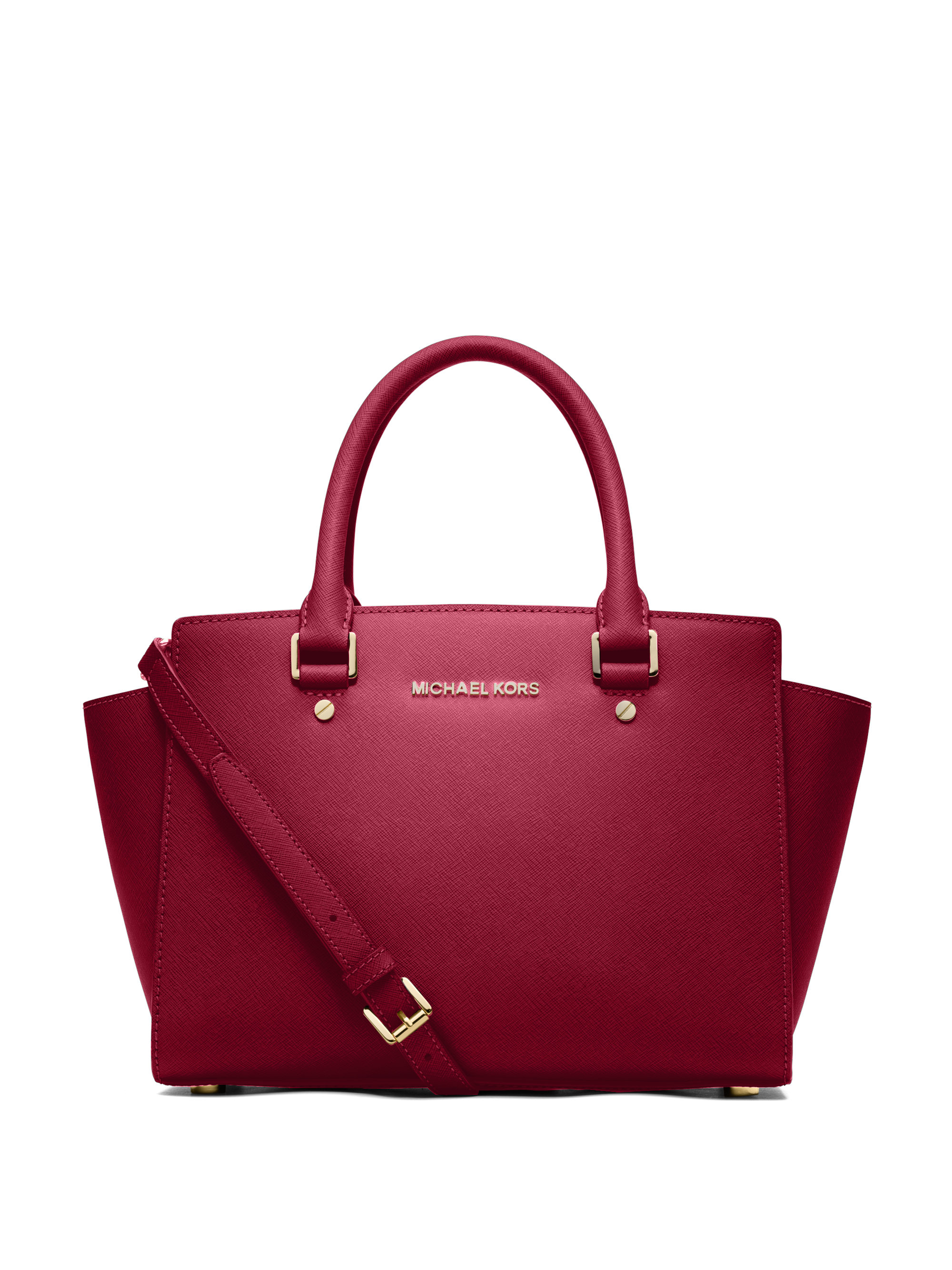 michael michael kors selma medium saffiano leather satchel in red lyst. Black Bedroom Furniture Sets. Home Design Ideas