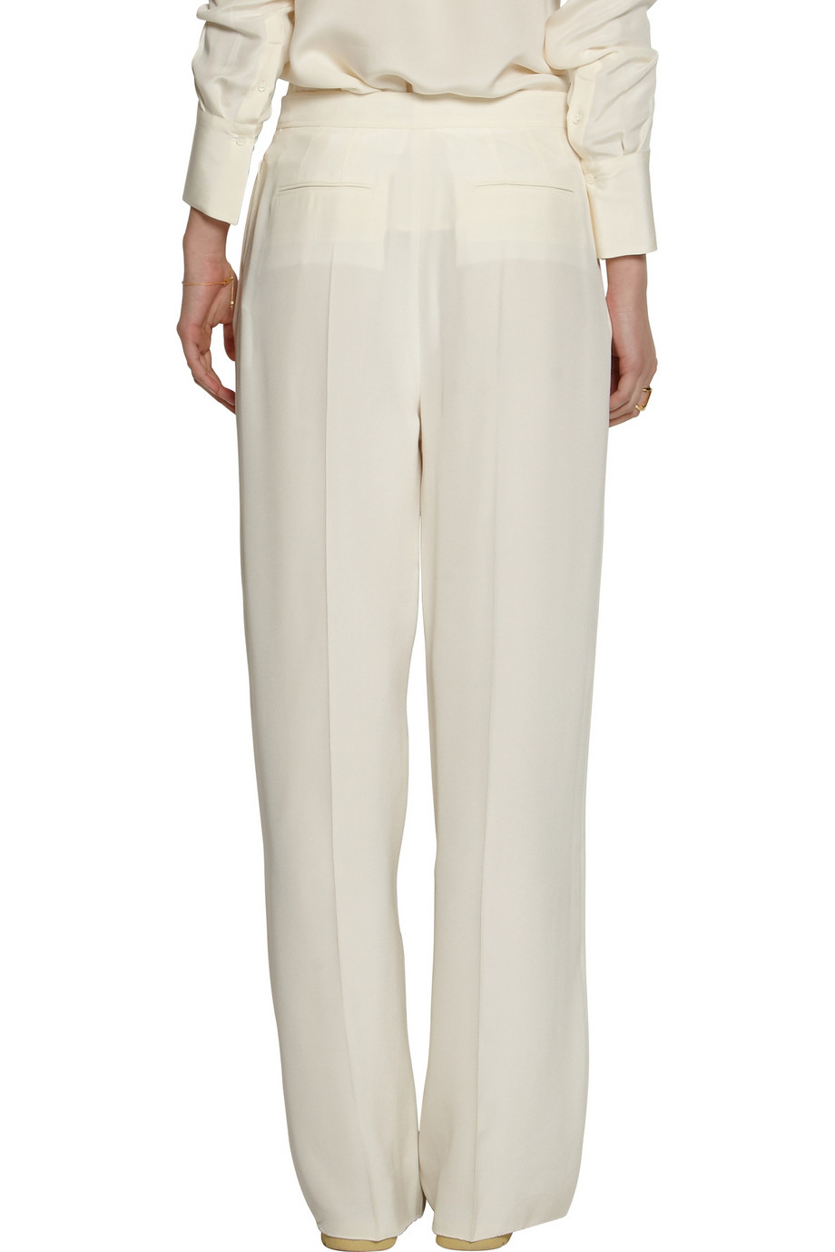 Valentino Pleated Silk Crepe Wide Leg Pants In White Lyst
