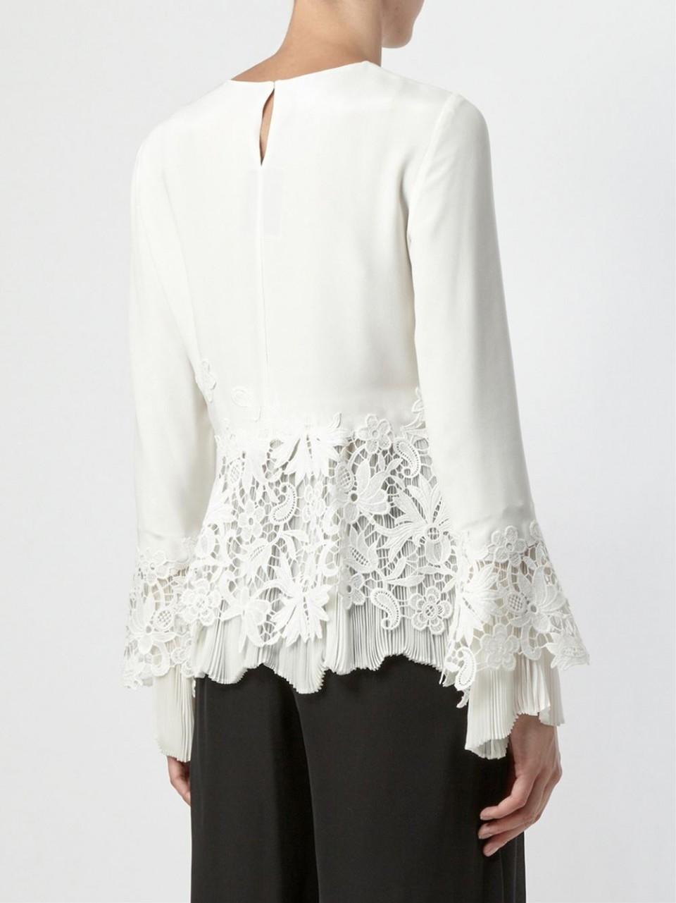 Prices Best Store To Get Oscar De La Renta Woman Lace-trimmed Silk Crepe De Chine Blouse White Size 4 Oscar De La Renta xKnXp