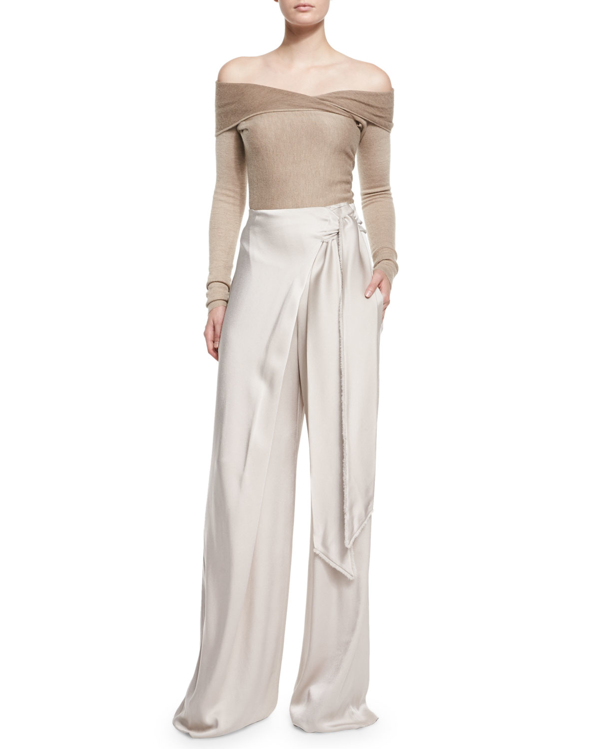 Maiyet Wide-Leg Wrapped Satin Pants in Natural | Lyst