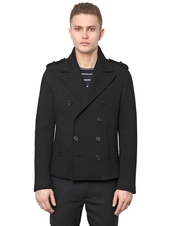 Neil barrett Light Neoprene Peacoat in Black for Men | Lyst