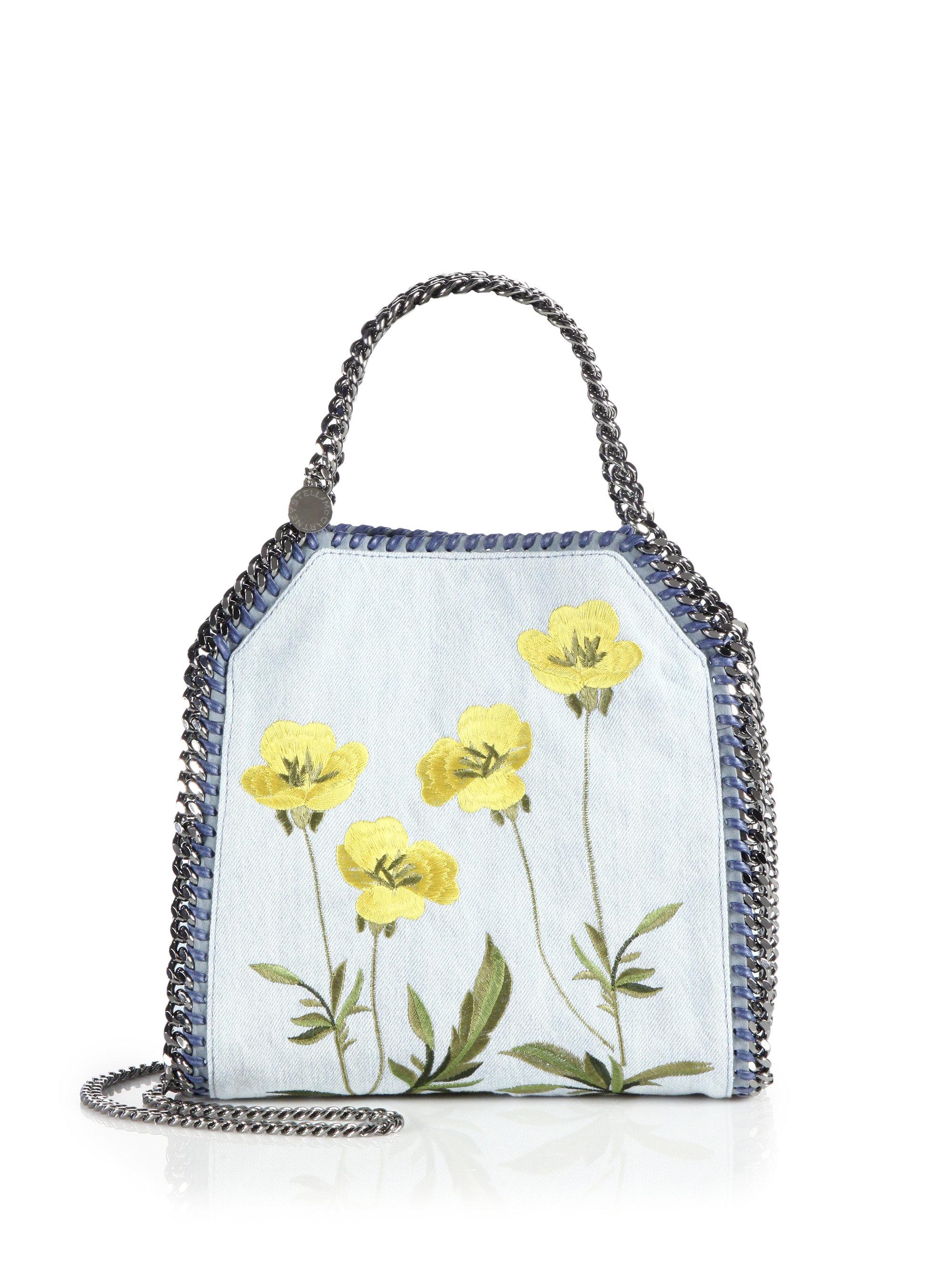 ea188d52416f4 Lyst - Stella McCartney Falabella Mini Baby Bella Floral Embroidered ...