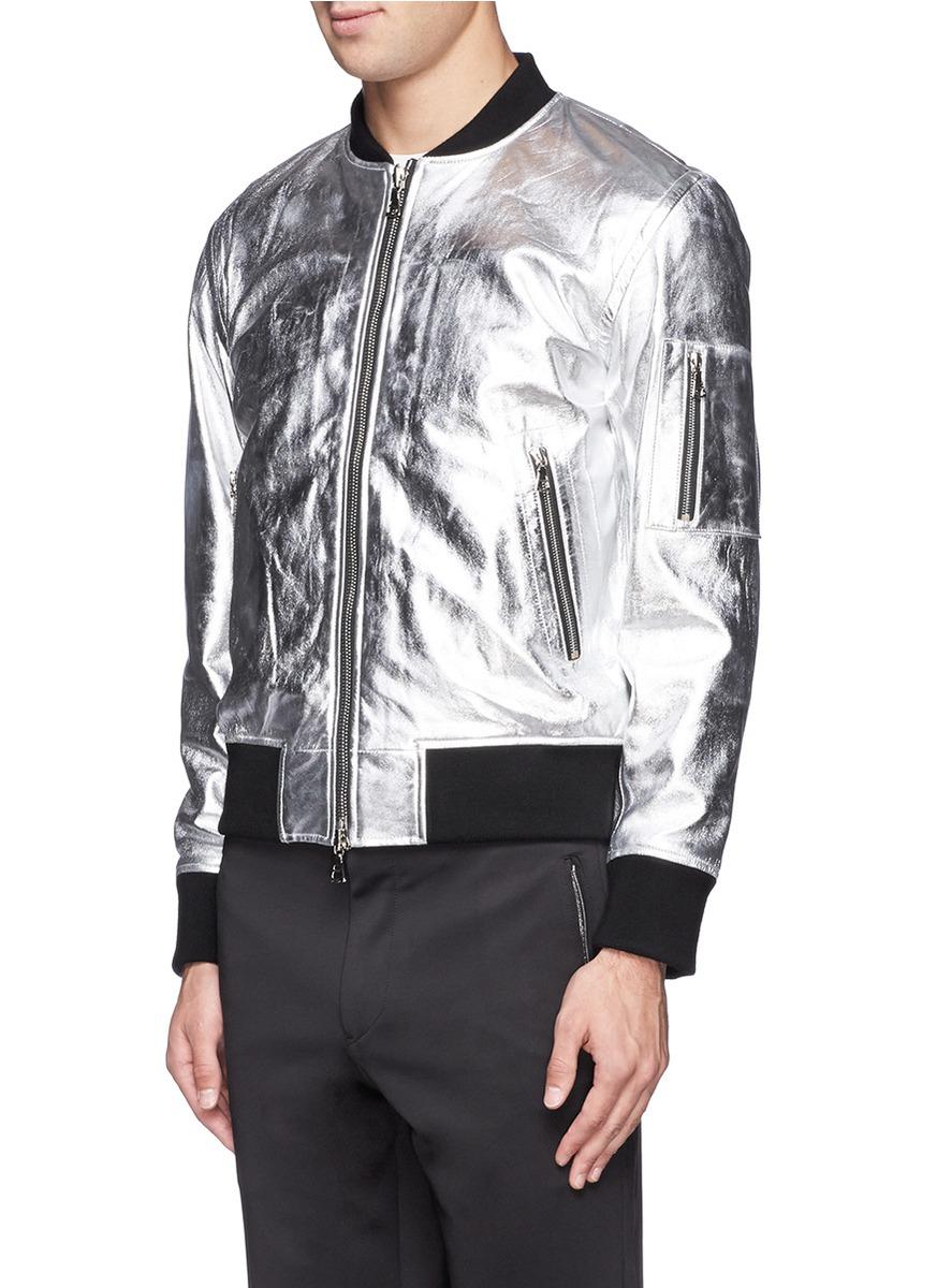 Ovadia And Sons Metallic Leather Bomber Jacket In Metallic