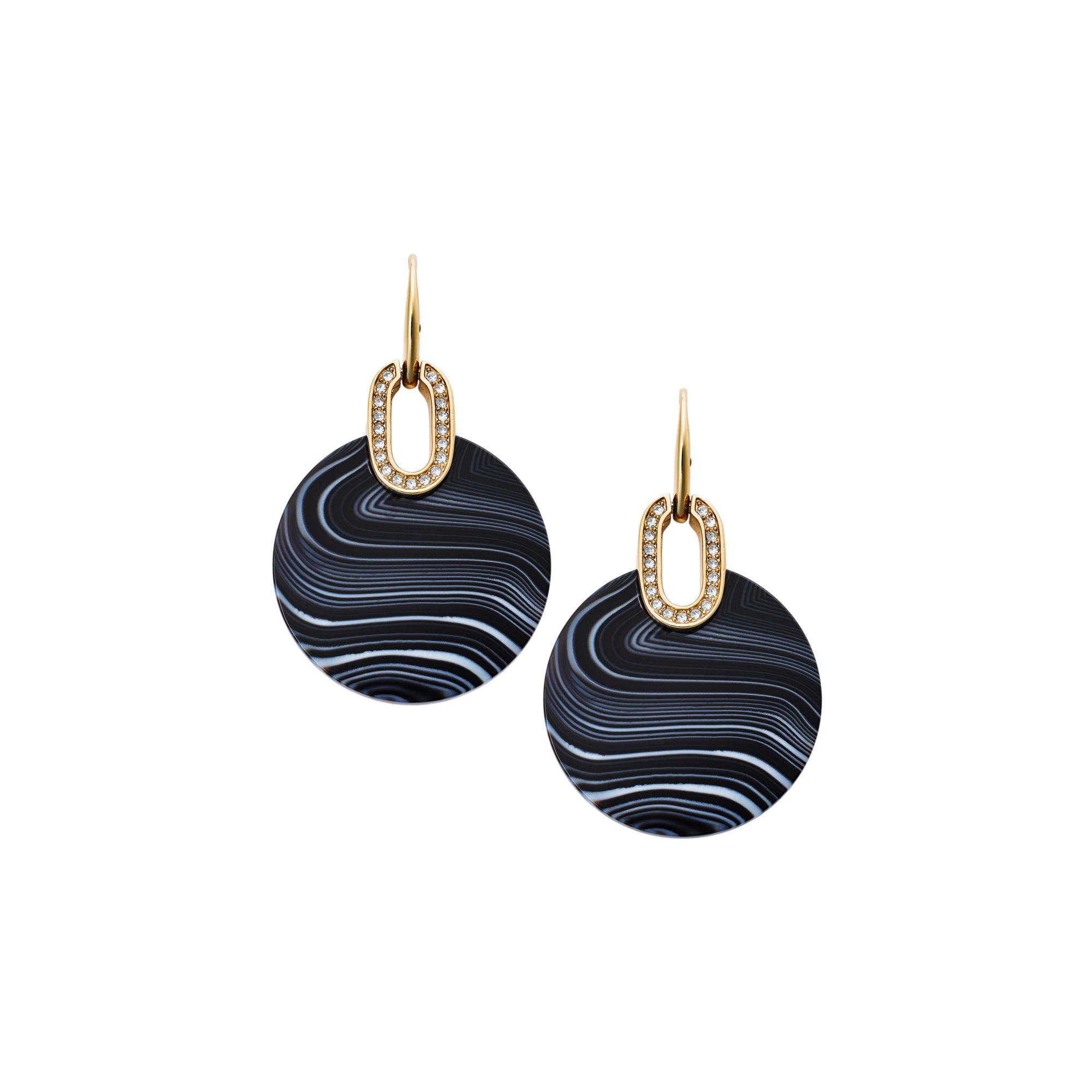 b9c97ed4c8ec Lyst - Michael Kors Gold-tone Black Agate Disc Drop Earrings in Metallic
