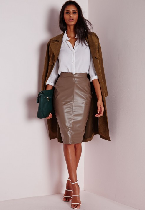 Missguided Back Split Faux Leather Midi Skirt Taupe in Brown | Lyst