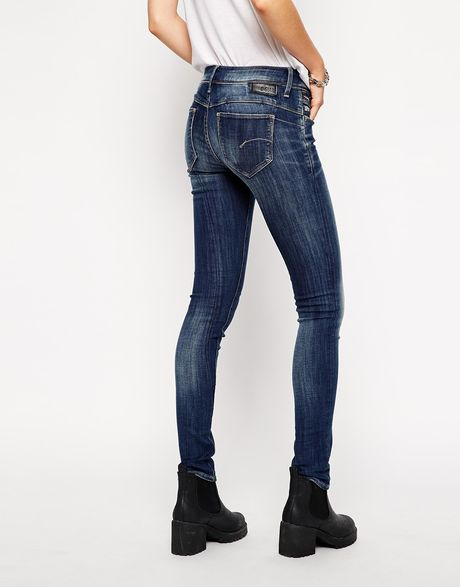 g star raw g star midge sculpted lift skinny jeans in blue. Black Bedroom Furniture Sets. Home Design Ideas