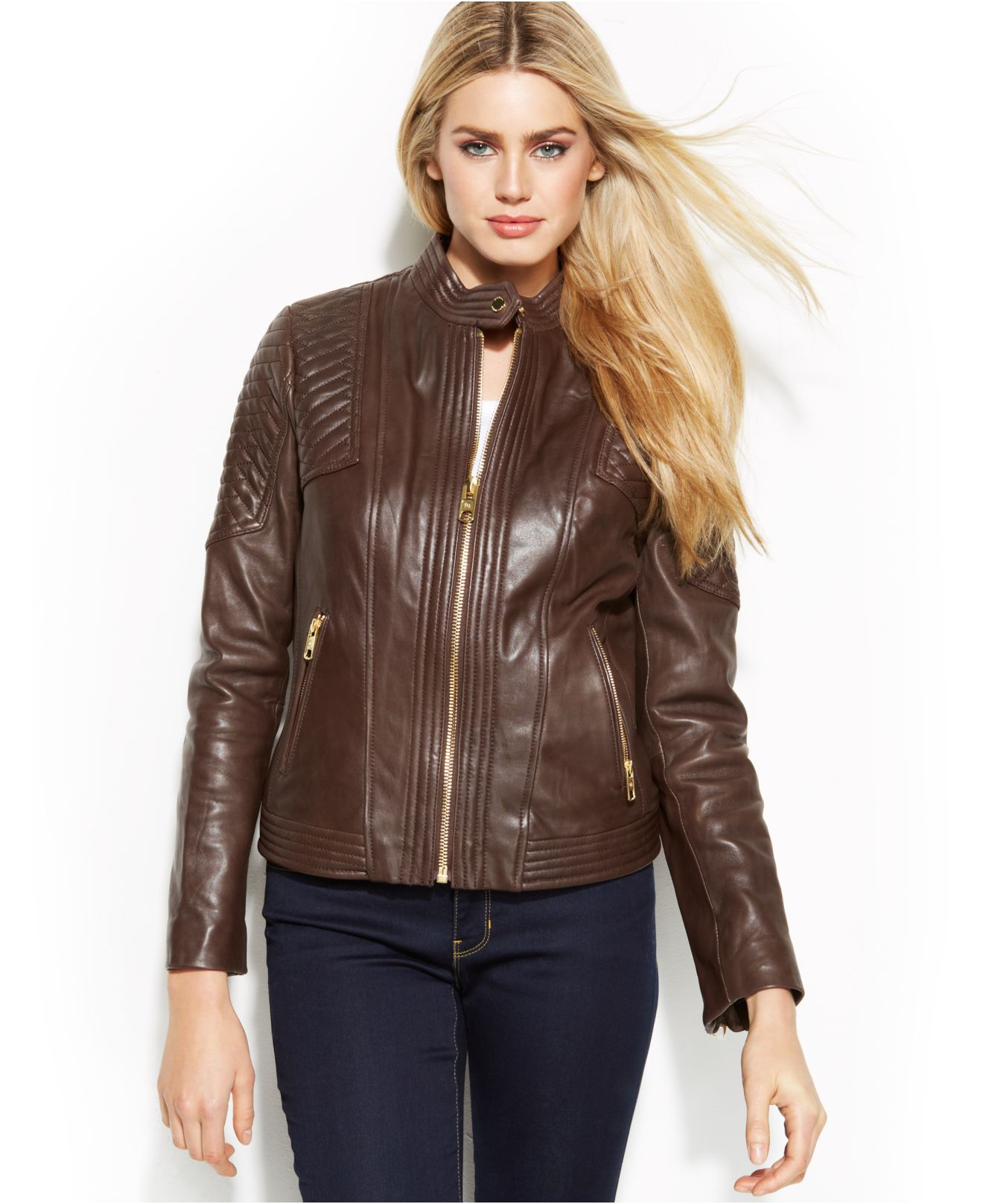 Michael kors quilted leather jacket