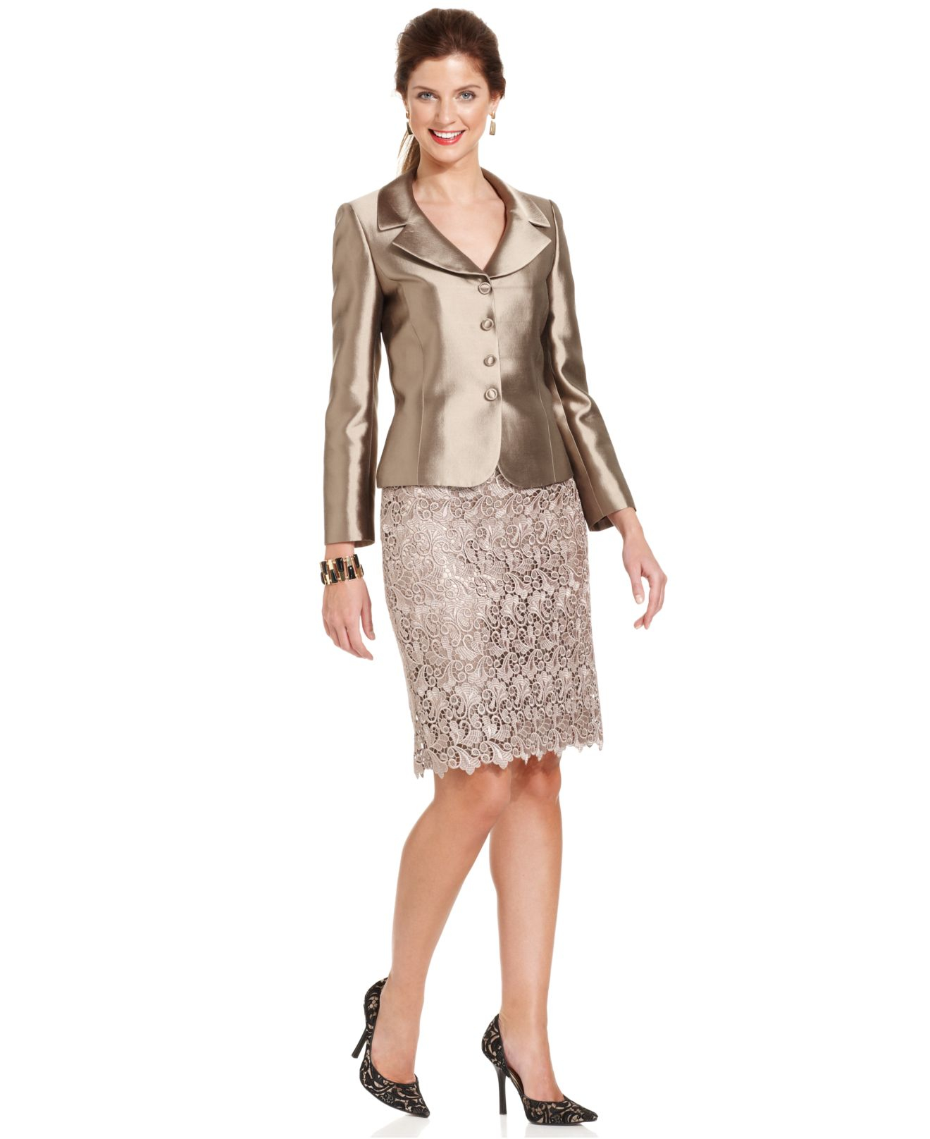 Lyst Tahari Three Button Metallic Lace Skirt Suit In Brown
