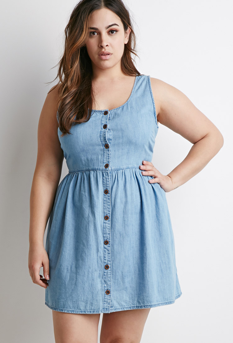 Forever 21 Plus Size Buttoned Chambray Babydoll Dress in Blue - Lyst