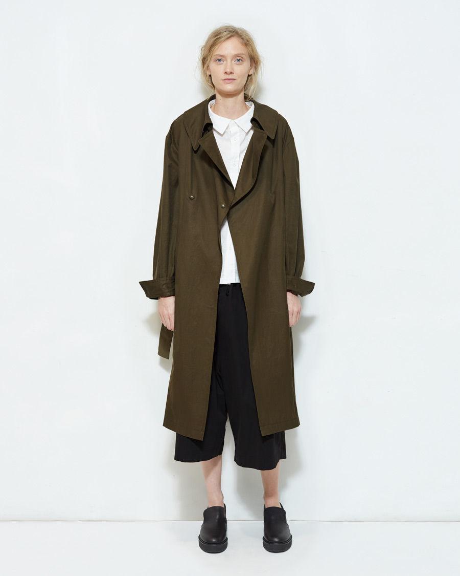 Moss green trench coat