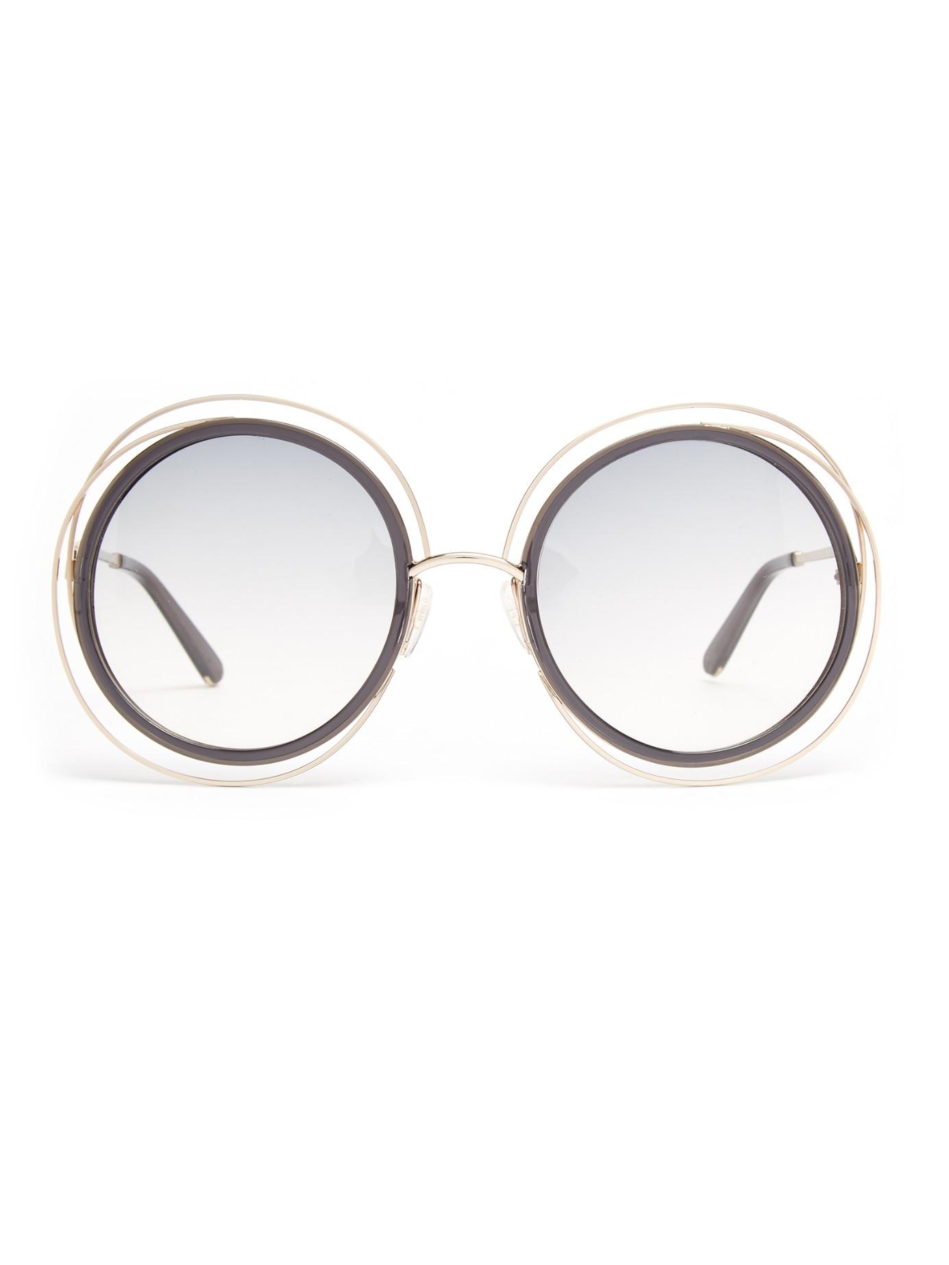 159866f8e94 Chloé Carlina Round-framed Sunglasses in Metallic - Lyst