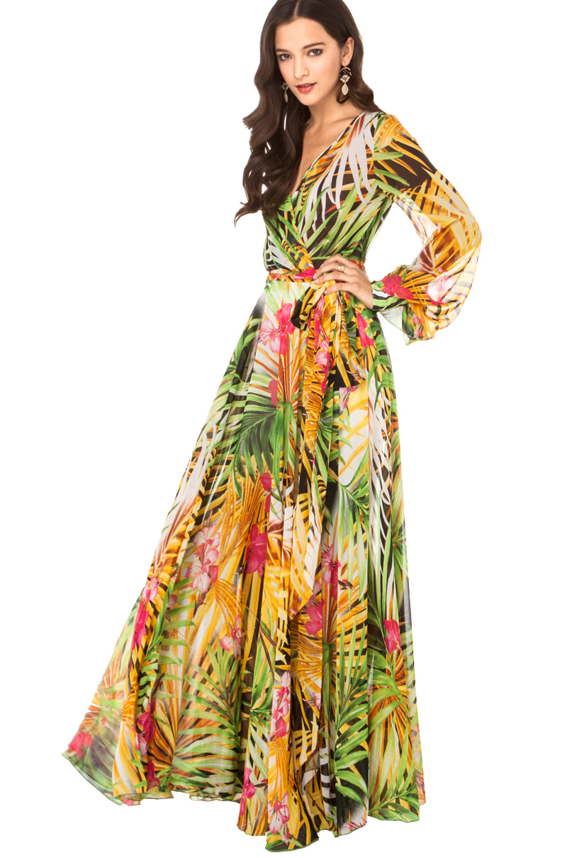 yellow dress flowy akira black label tropical print flowy maxi dress in 6471