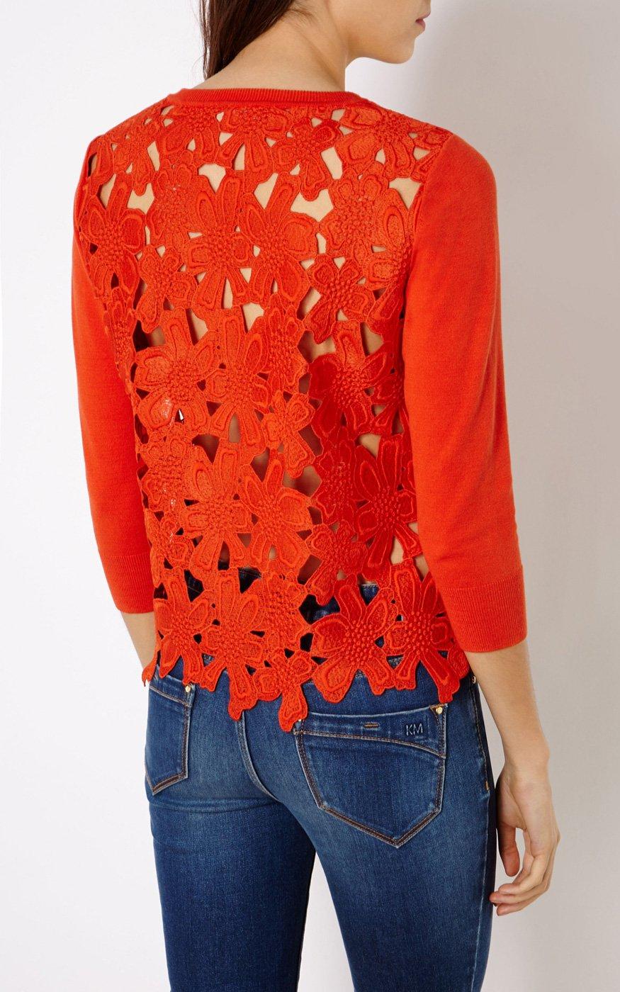 Karen millen Floral Lace Cardigan in Red | Lyst