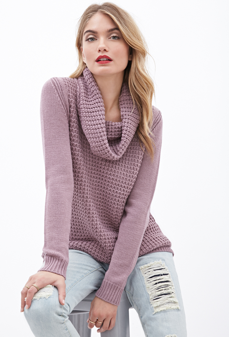 Forever 21 Contemporary Mixed-knit Cowl Neck Sweater in Purple | Lyst