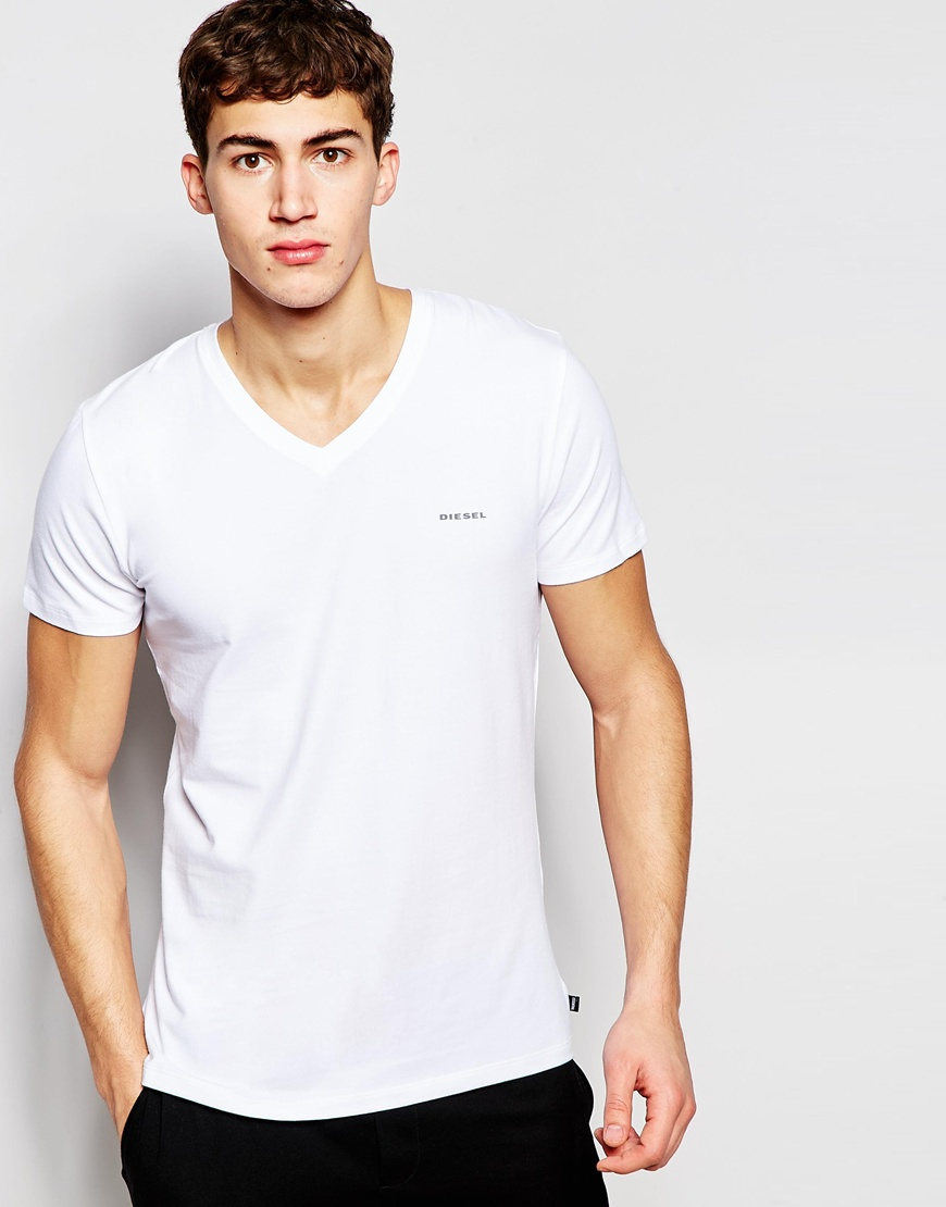 Lyst - Diesel Logo V-neck T-shirt In Stretch Cotton In Slim Fit in White for Men