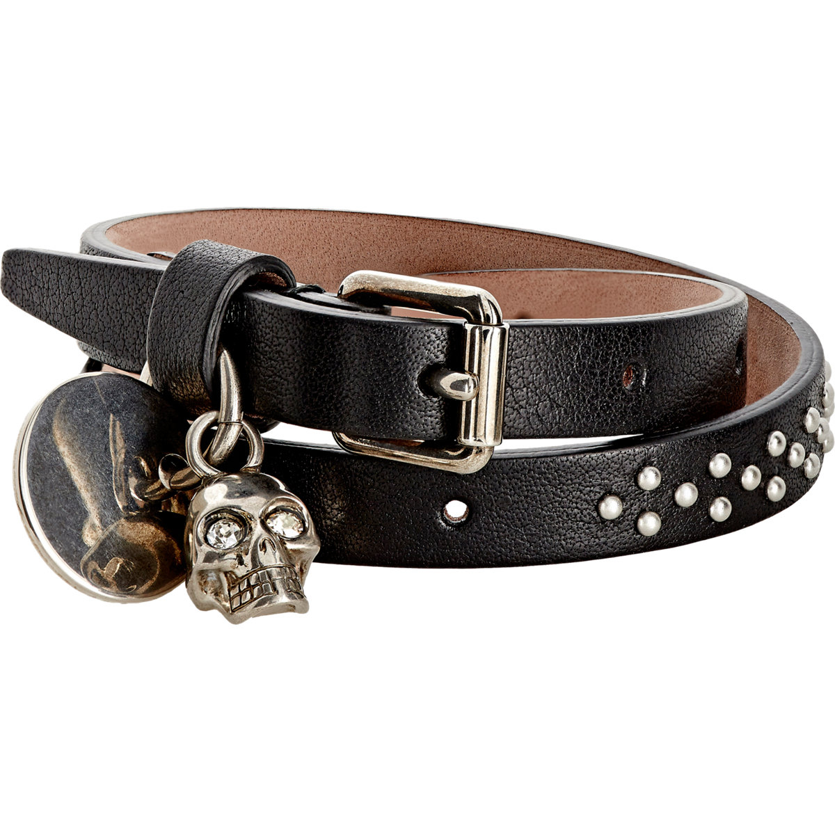 Leather Wrap Charm Bracelet: Alexander Mcqueen Studded Leather Wrap Bracelet
