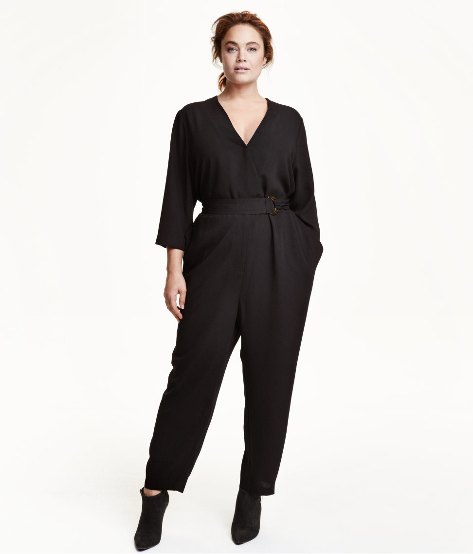 h m v neck jumpsuit in black lyst. Black Bedroom Furniture Sets. Home Design Ideas