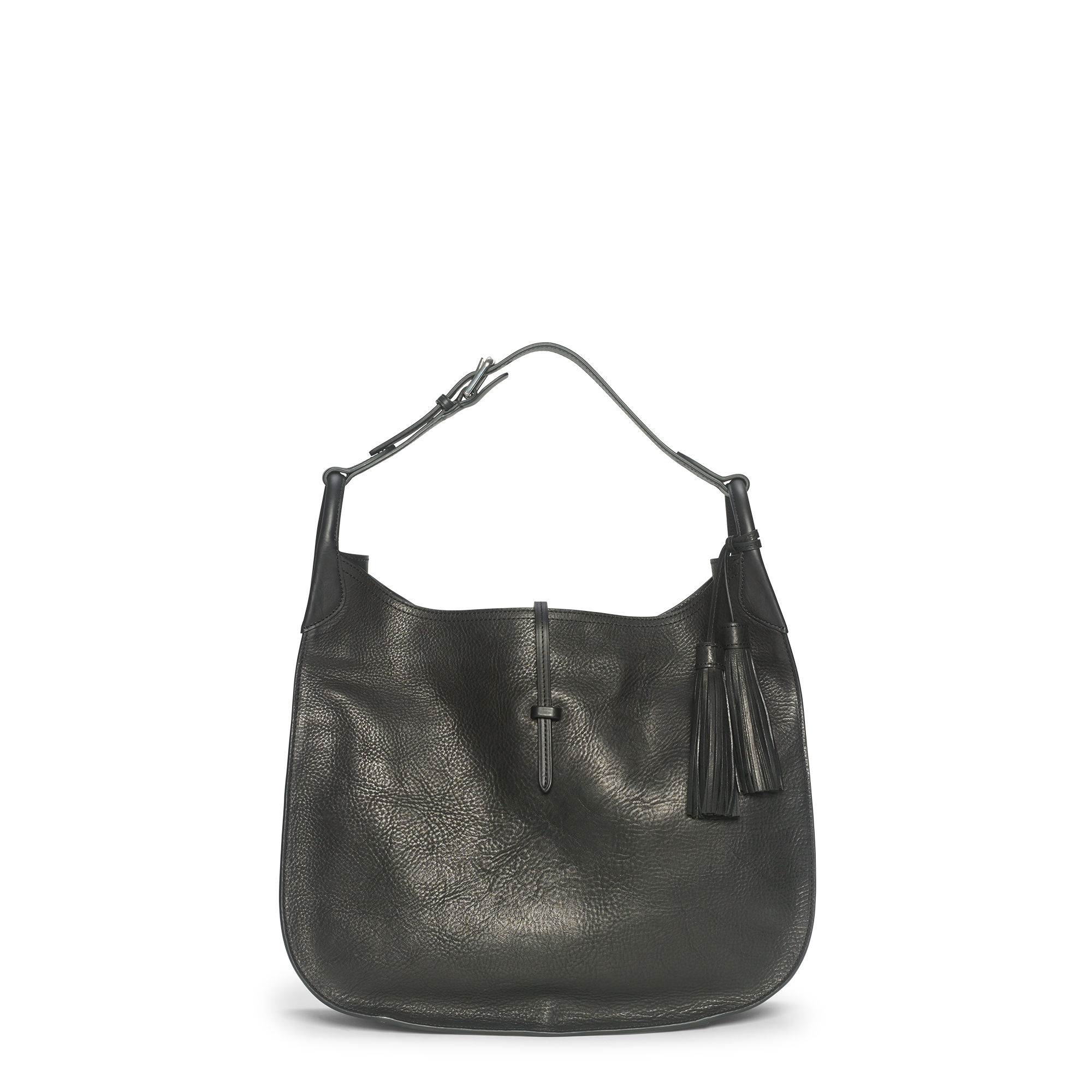 9d0d0ca2032d Polo Ralph Lauren Tumbled Leather Hobo Bag in Black - Lyst