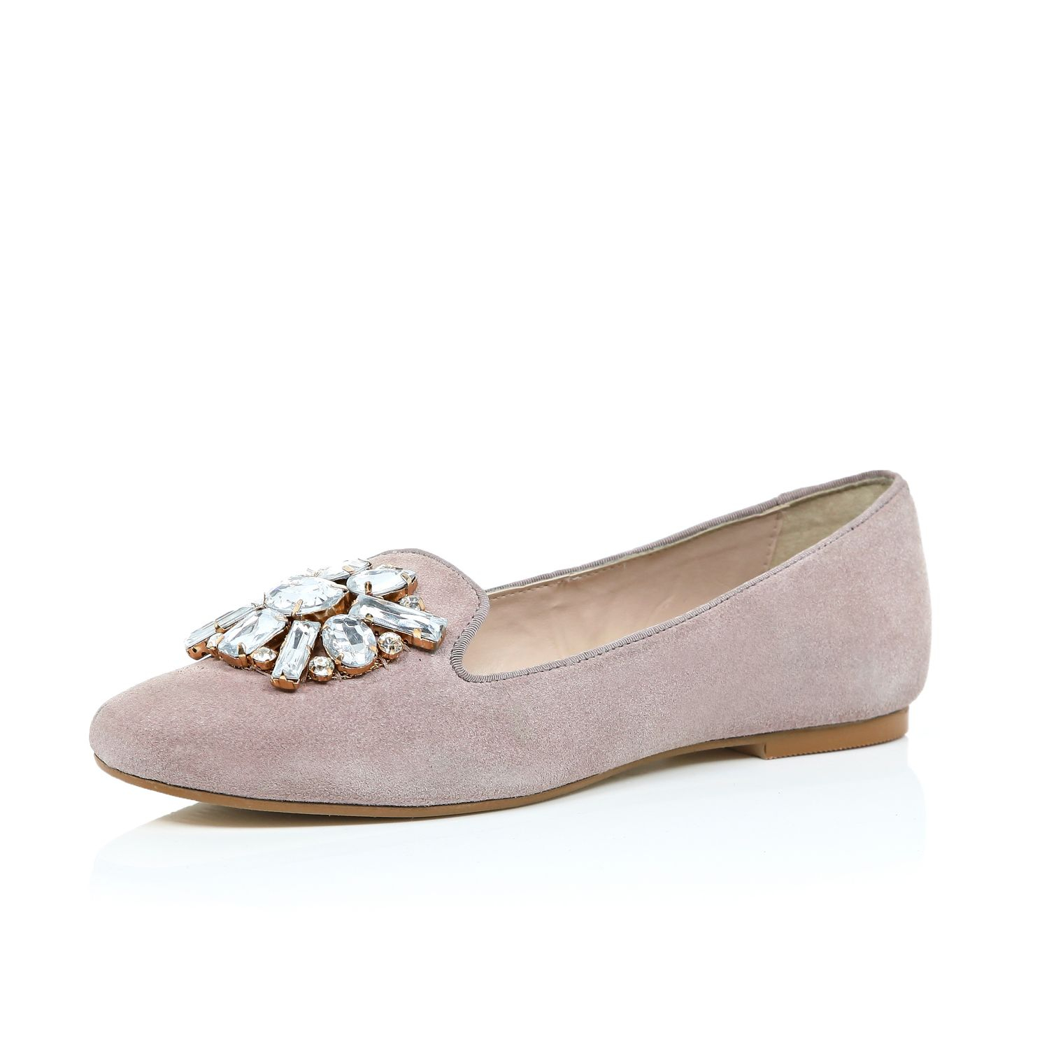 19842825321 River Island Pink Suede Embellished Ballerina Flats in Natural - Lyst