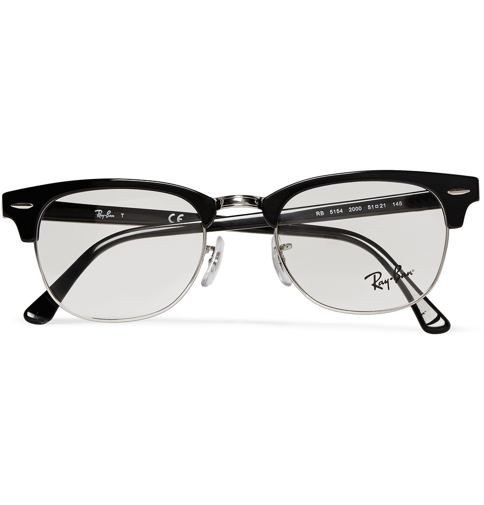 592a5b3686 Lyst - Ray-Ban Clubmaster Acetate And Metal Optical Glasses in Black ...