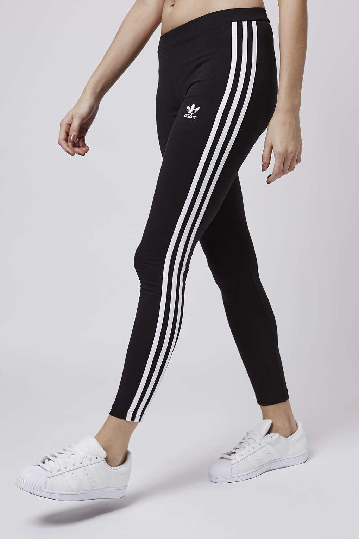 lyst topshop three stripe leggings by adidas originals in black. Black Bedroom Furniture Sets. Home Design Ideas
