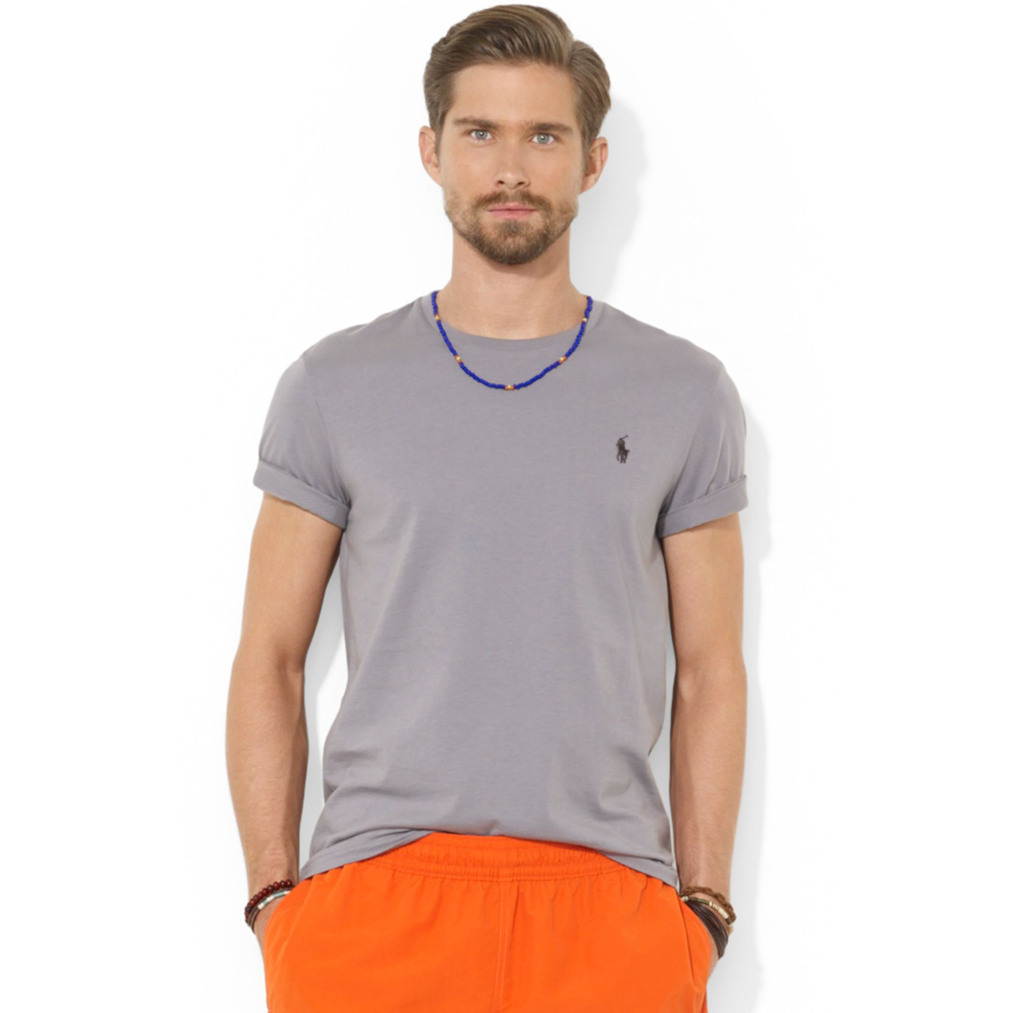 bbf8e8a4c00a6b Lyst - Ralph Lauren Polo Customfit Cotton Jersey T-shirt in Gray for Men