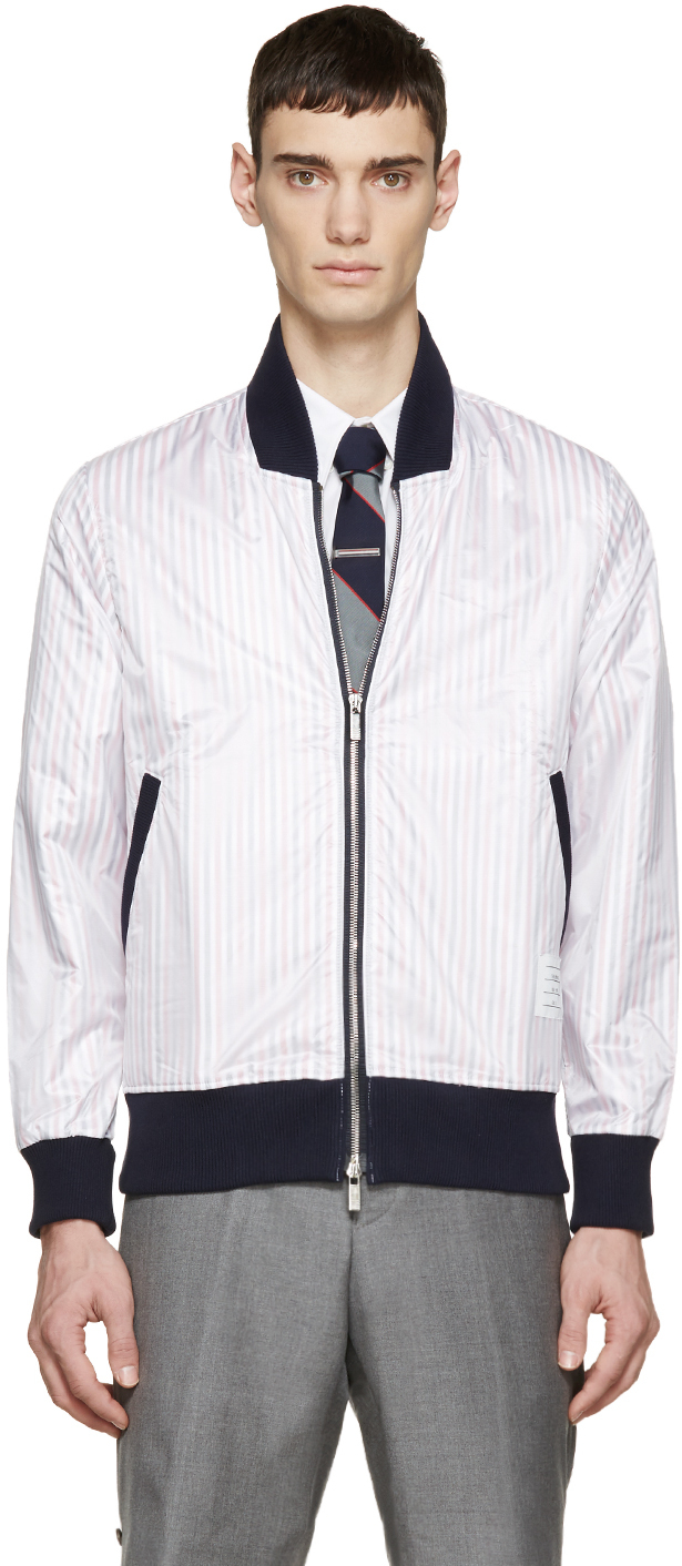 Thom browne Tricolor Nylon Layered Bomber Jacket in White ...