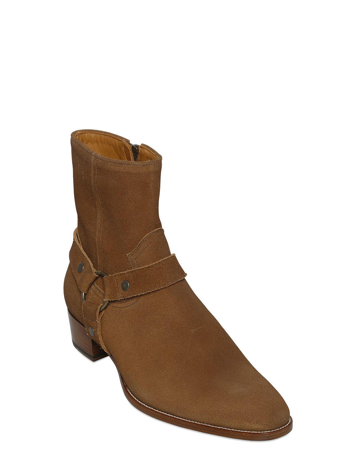 Lyst - Saint Laurent 40mm Wyatt Suede Cropped Boots in Natural for Men c0a10b8dc024
