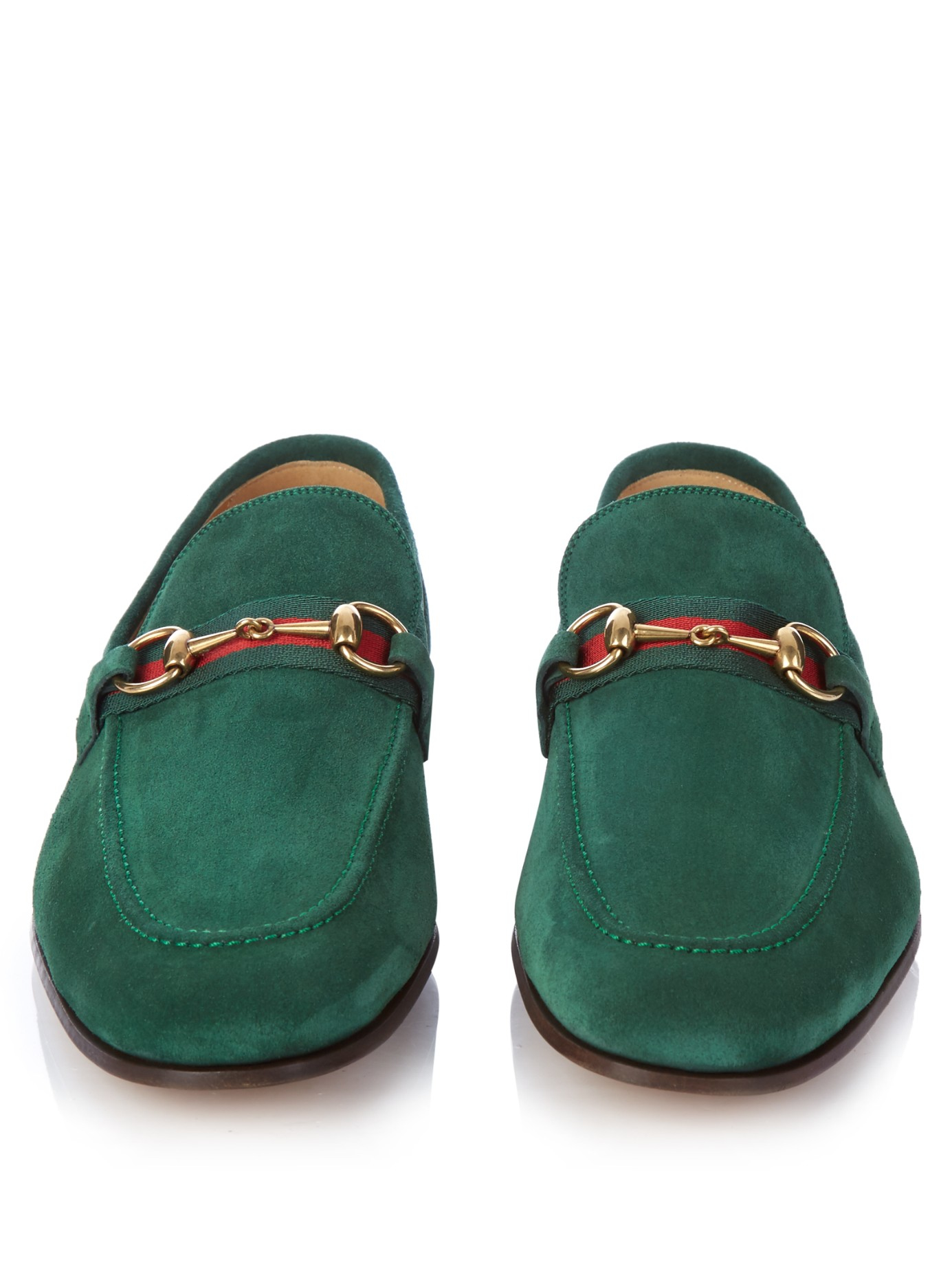 gucci horsebit suede loafers in green for men lyst. Black Bedroom Furniture Sets. Home Design Ideas