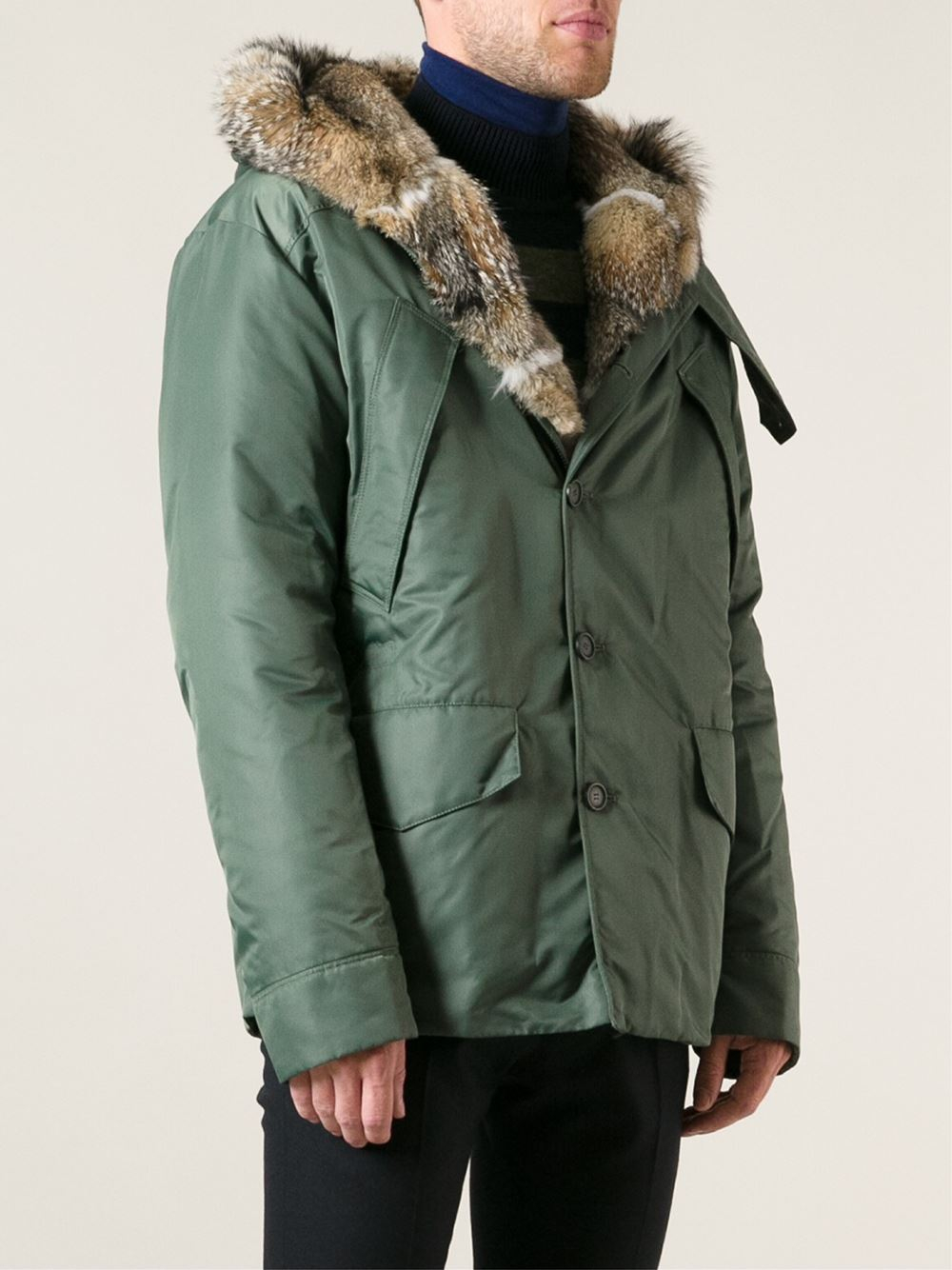Ermanno scervino Fur Hood Coat in Green for Men | Lyst