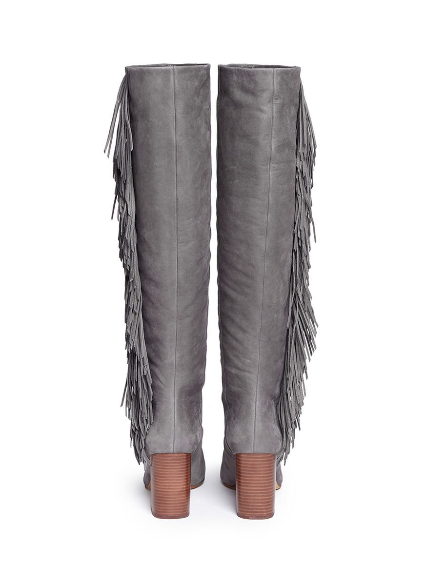 Sam edelman Taylan Fringed Suede Knee-High Boots in Gray   Lyst
