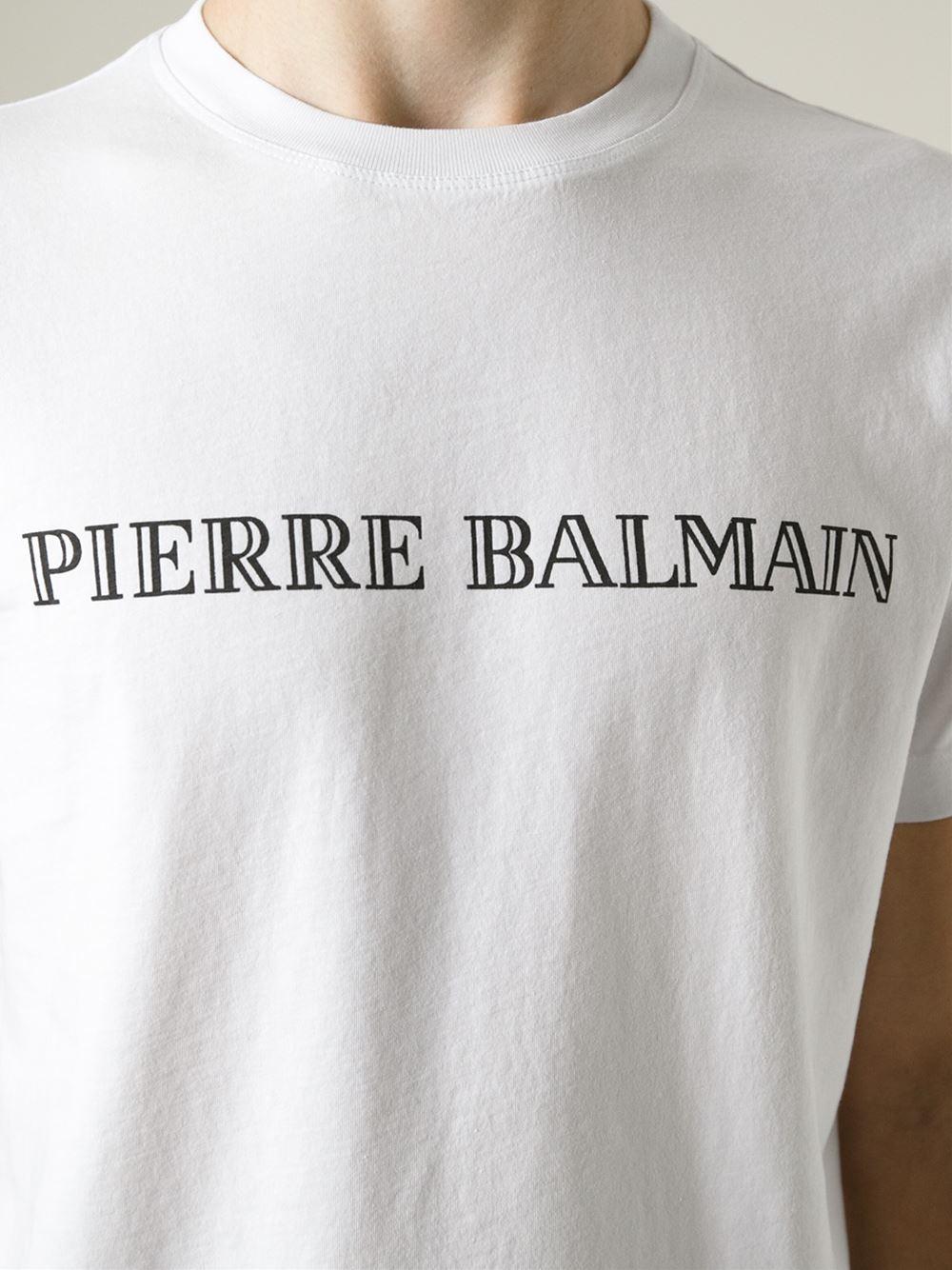 0546649c42 Balmain Logo Print T-shirt in Black for Men - Lyst