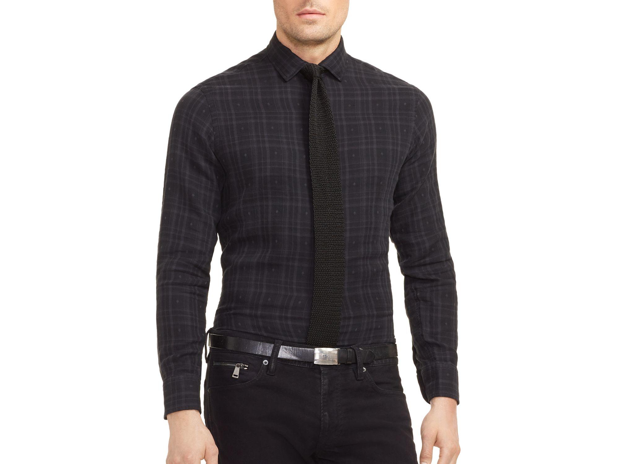 ralph lauren black label plaid dobby sloan slim fit shirt in black for. Black Bedroom Furniture Sets. Home Design Ideas