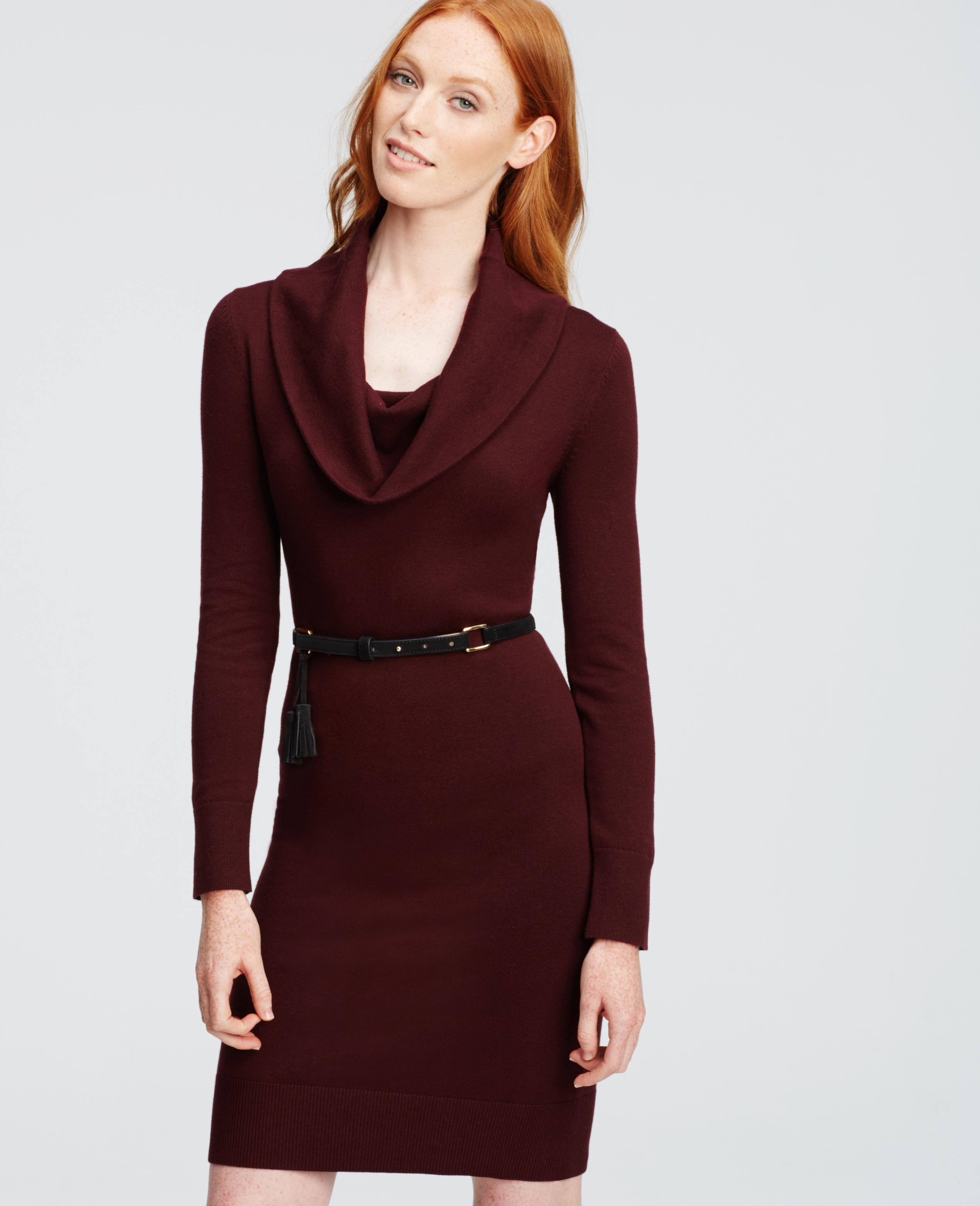 Ann taylor Cowl Neck Sweater Dress in Red | Lyst
