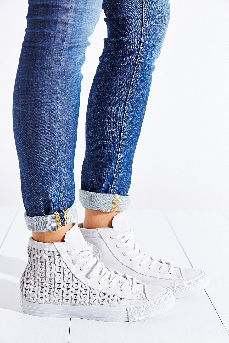 cfe5ff88f369 Lyst - Converse All-Star Woven Suede High-Top Sneaker in White