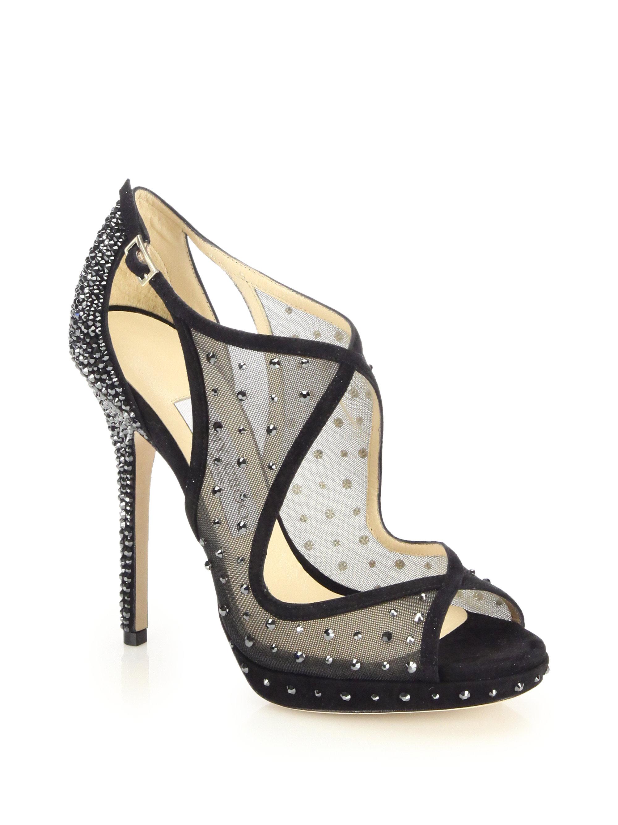 f9001cf7752 Lyst - Jimmy Choo Leondra Crystal-embellished Mesh   Suede Sandals ...