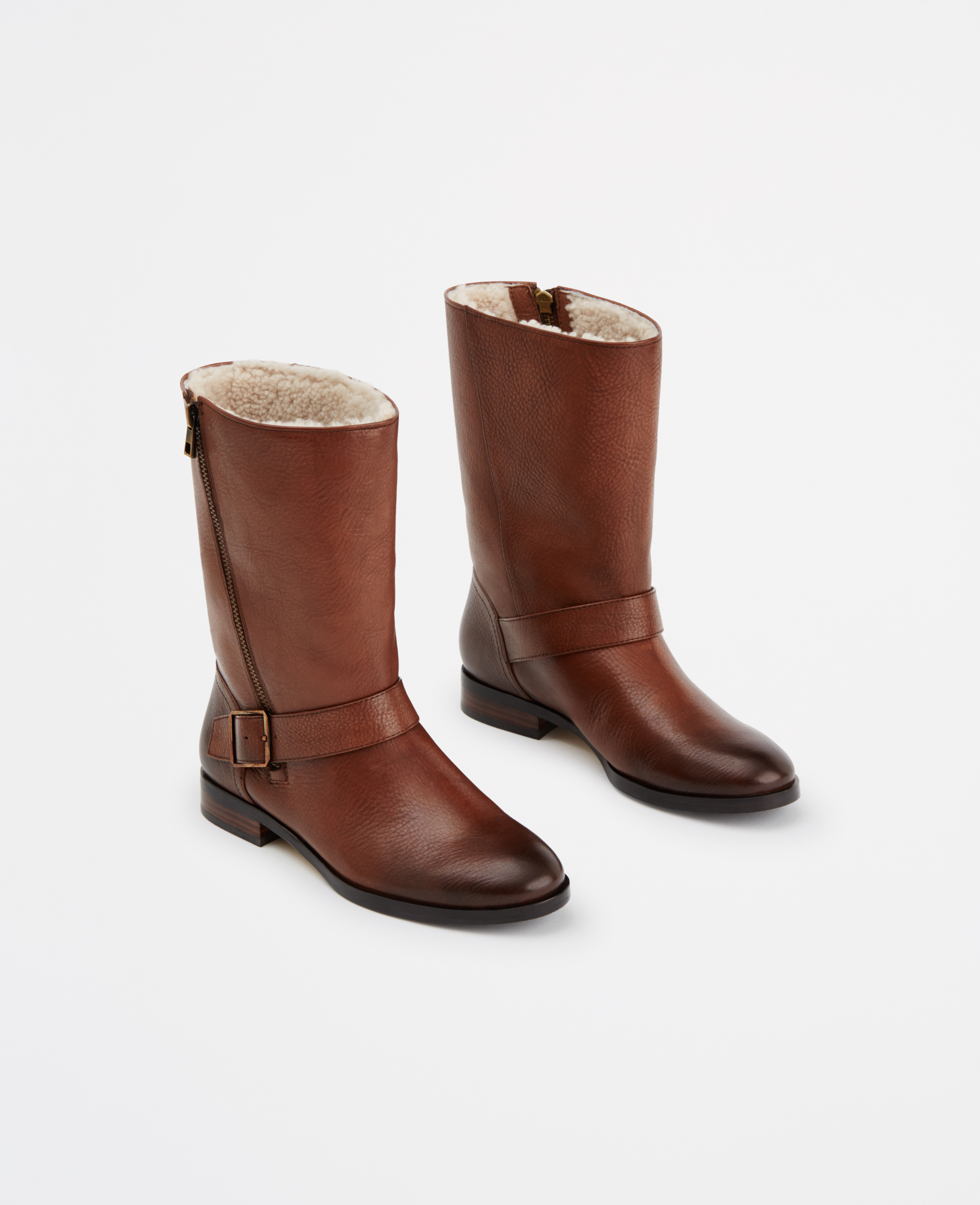 Ann taylor Janna Leather And Shearling Boots in Brown | Lyst