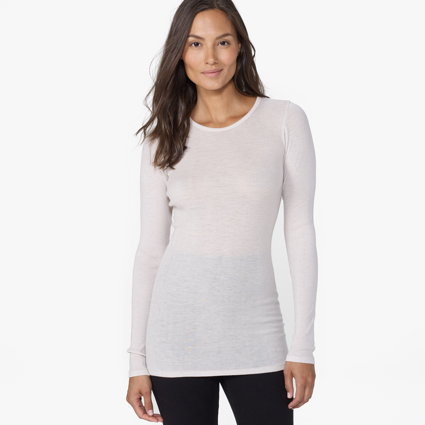 ad643beb73118d James Perse Ribbed Cashmere Long Sleeve Tee in White - Lyst