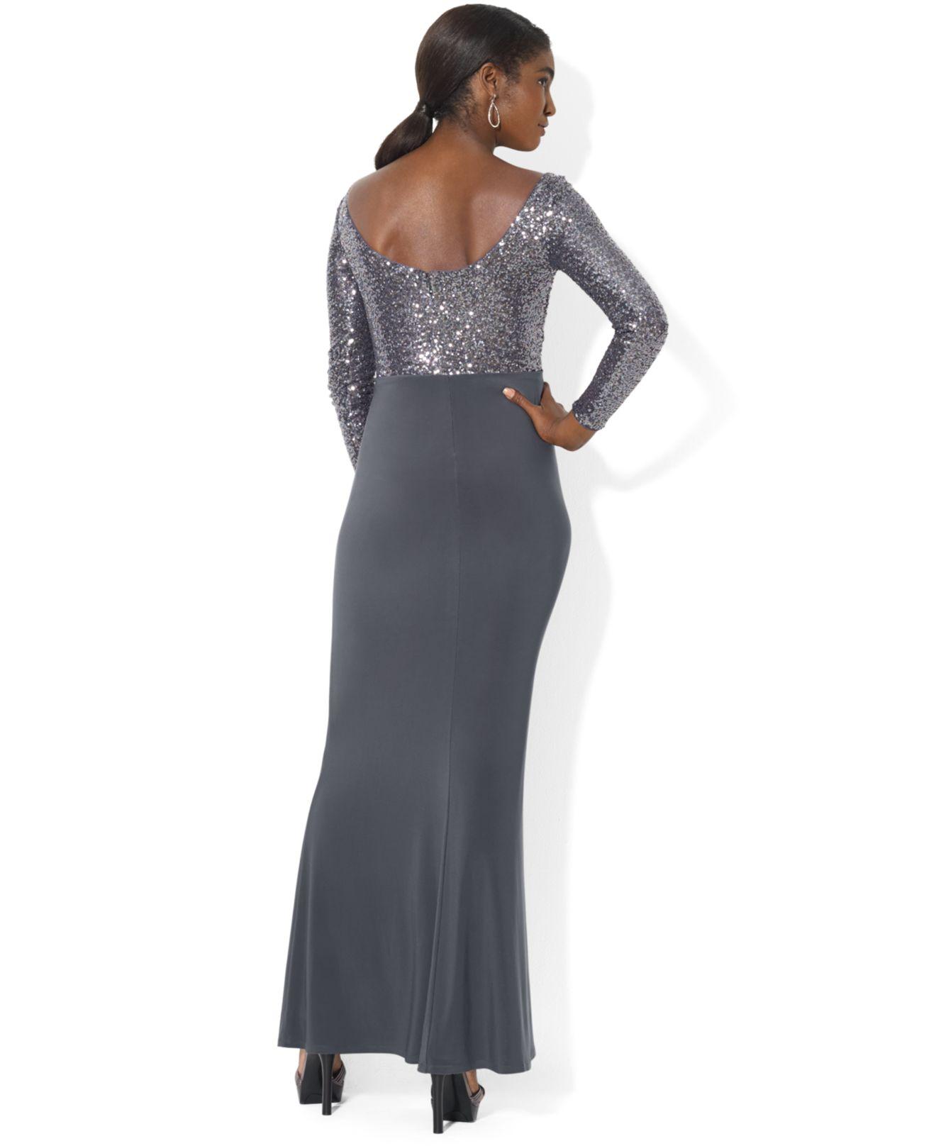 Lyst - Lauren By Ralph Lauren Petite Long-Sleeve Sequin Gown in Gray