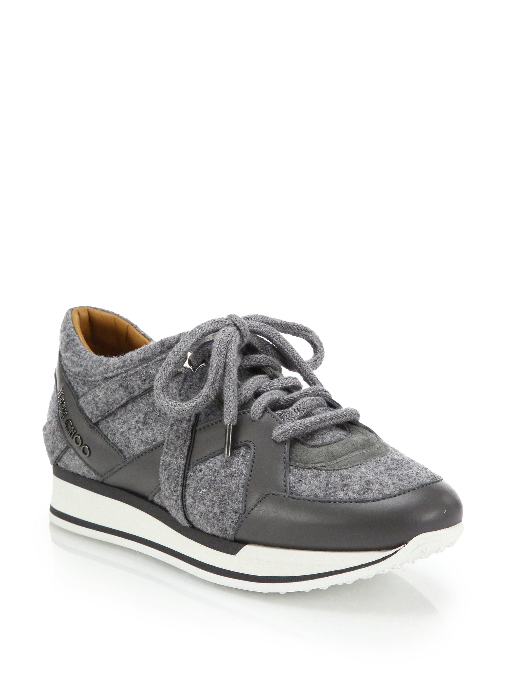jimmy choo london felt leather suede sneakers in gray lyst. Black Bedroom Furniture Sets. Home Design Ideas
