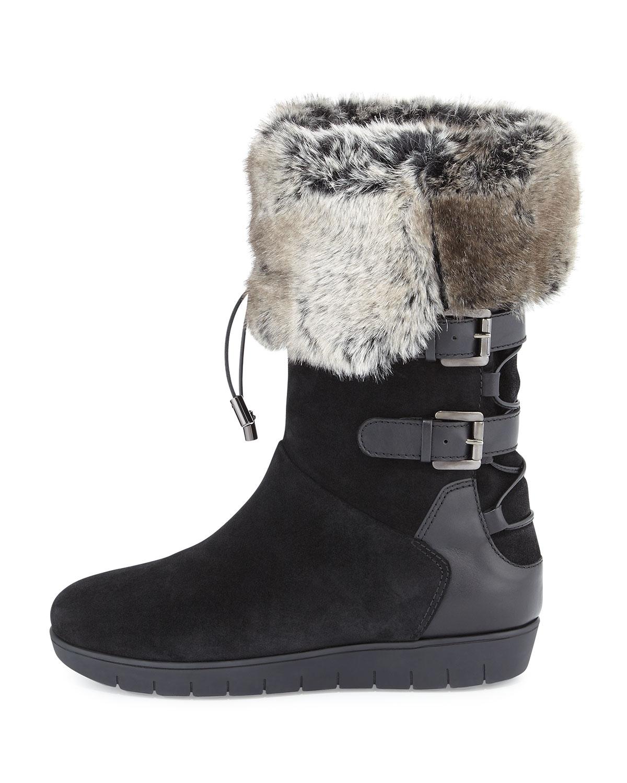 aquatalia weslyn faux fur trimmed snow boots in black lyst