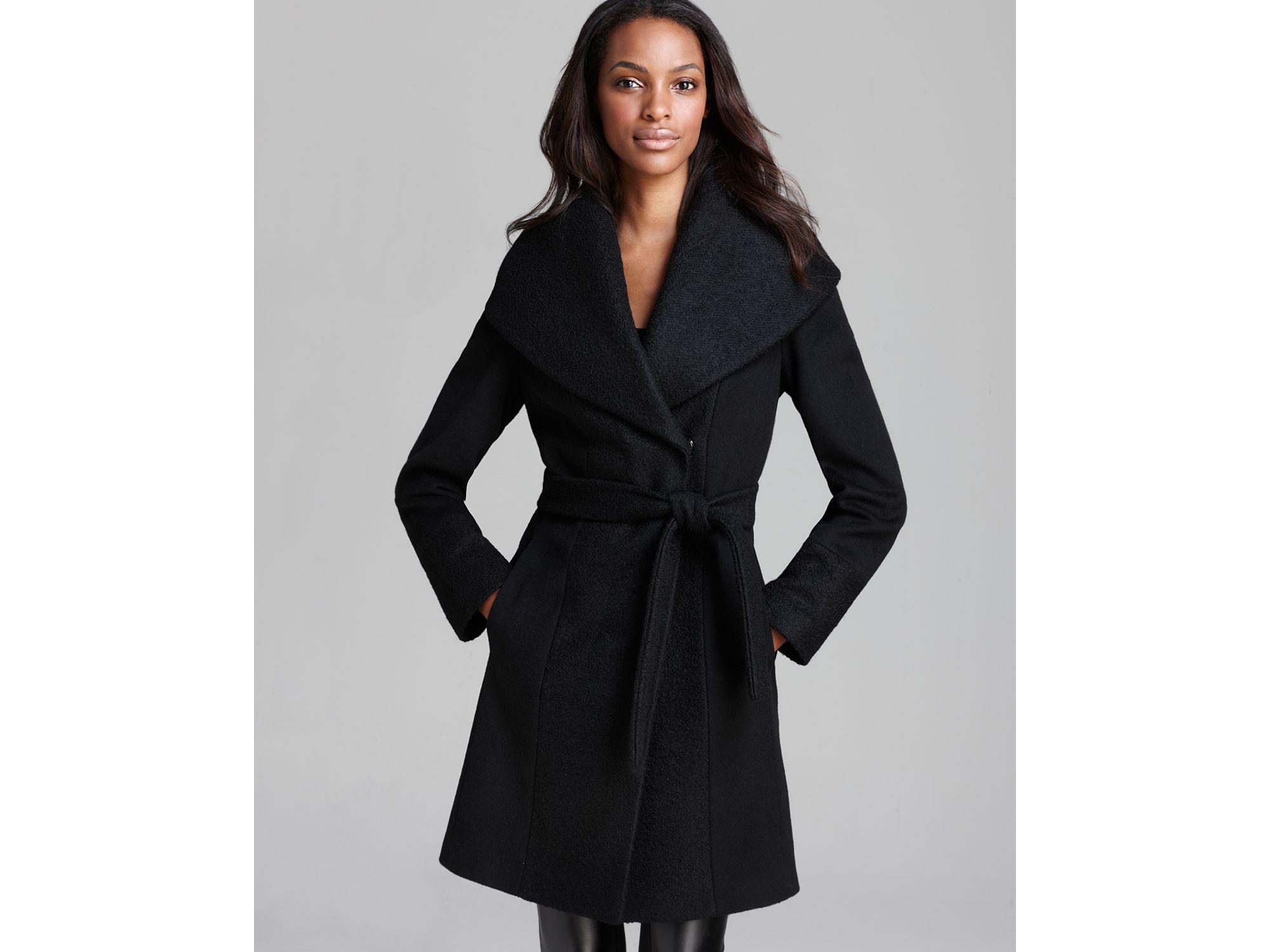 Calvin klein Coat - Lux Boiled Wool Wrap in Black   Lyst