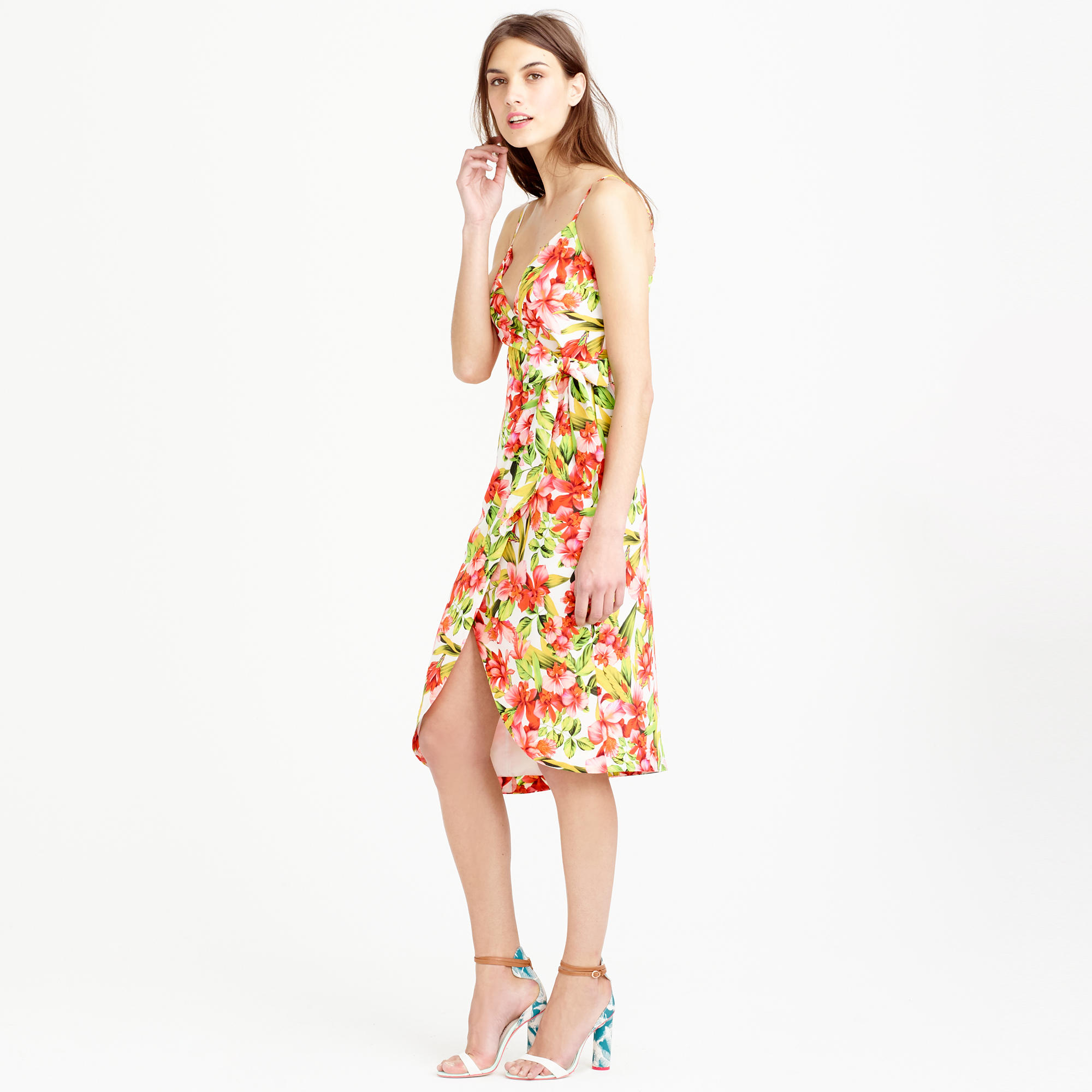Lyst J Crew Collection Italian Silk Wrap Dress In Hibiscus